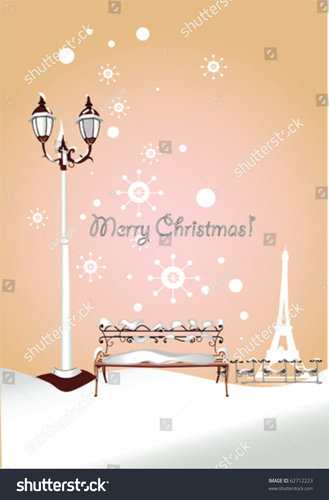 Romantic Christmas Card Winter Bench Park Stock Vector Royalty Free