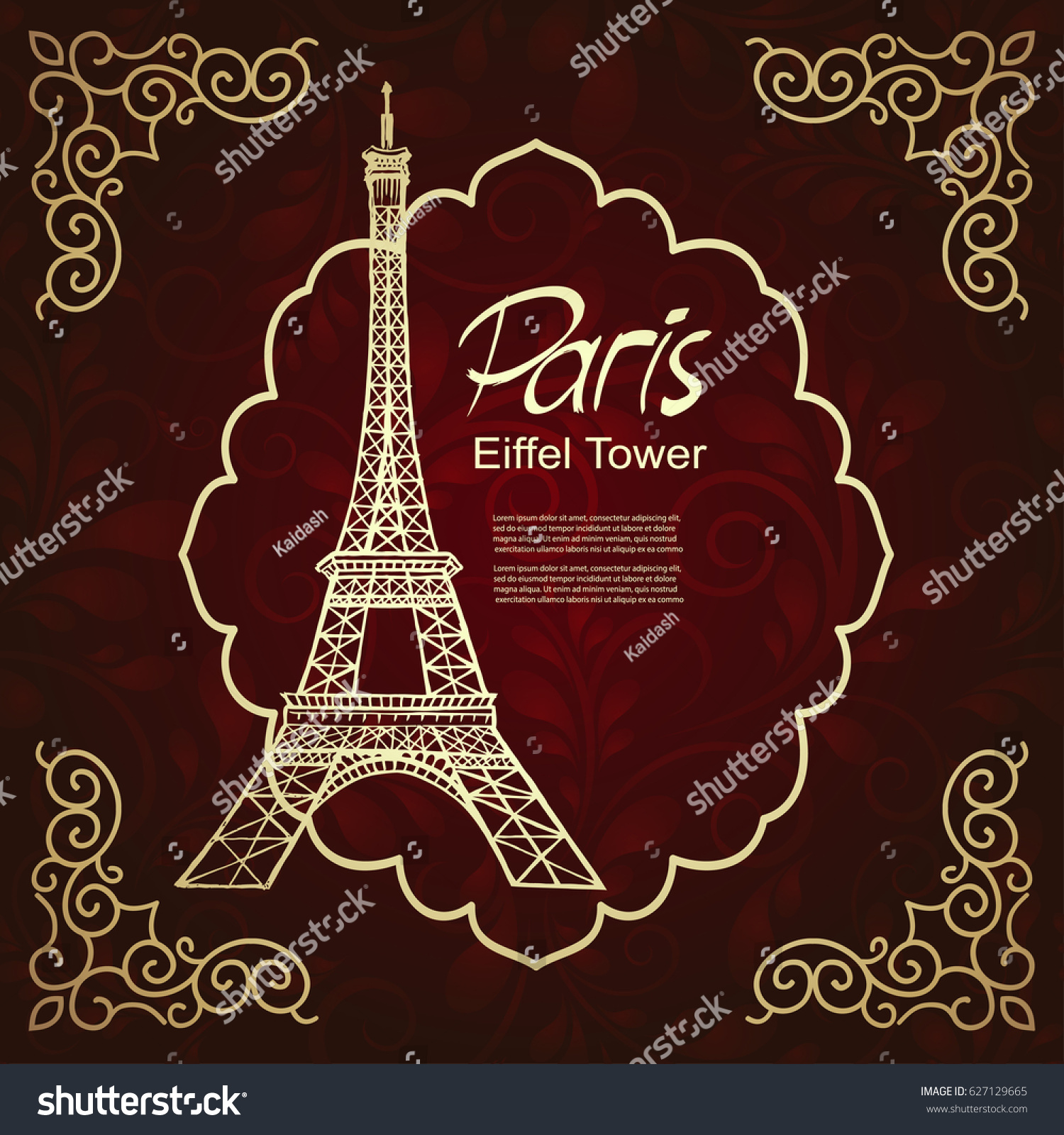 Eiffel Tower Greeting Card Stock Vector (Royalty Free) 627129665 ...
