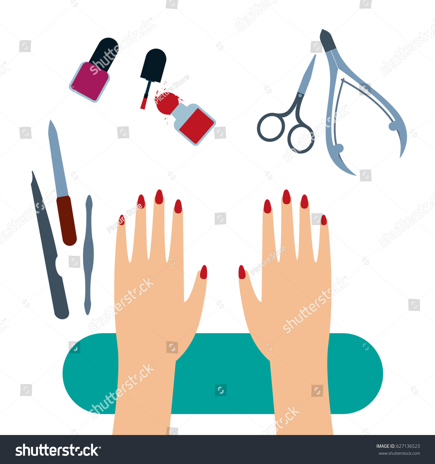 Manicure Tools Female Hands Painted Nails Stock Illustration ...