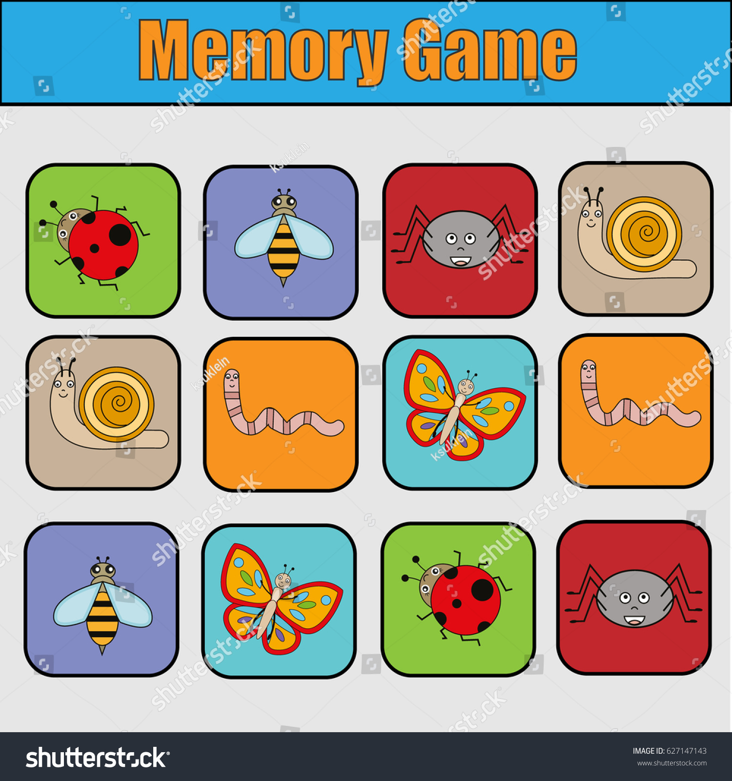 Uncategorized Memory Pairs educational children game kids activity memory stock illustration with insects find pairs of same