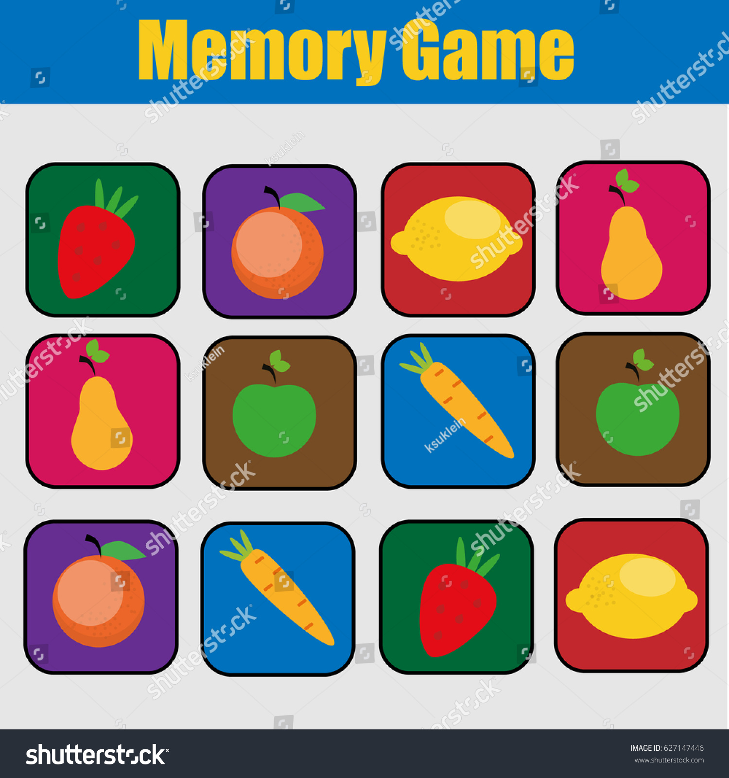 Uncategorized Memory Pairs educational children game kids activity memory stock illustration friuts and vegetables theme find