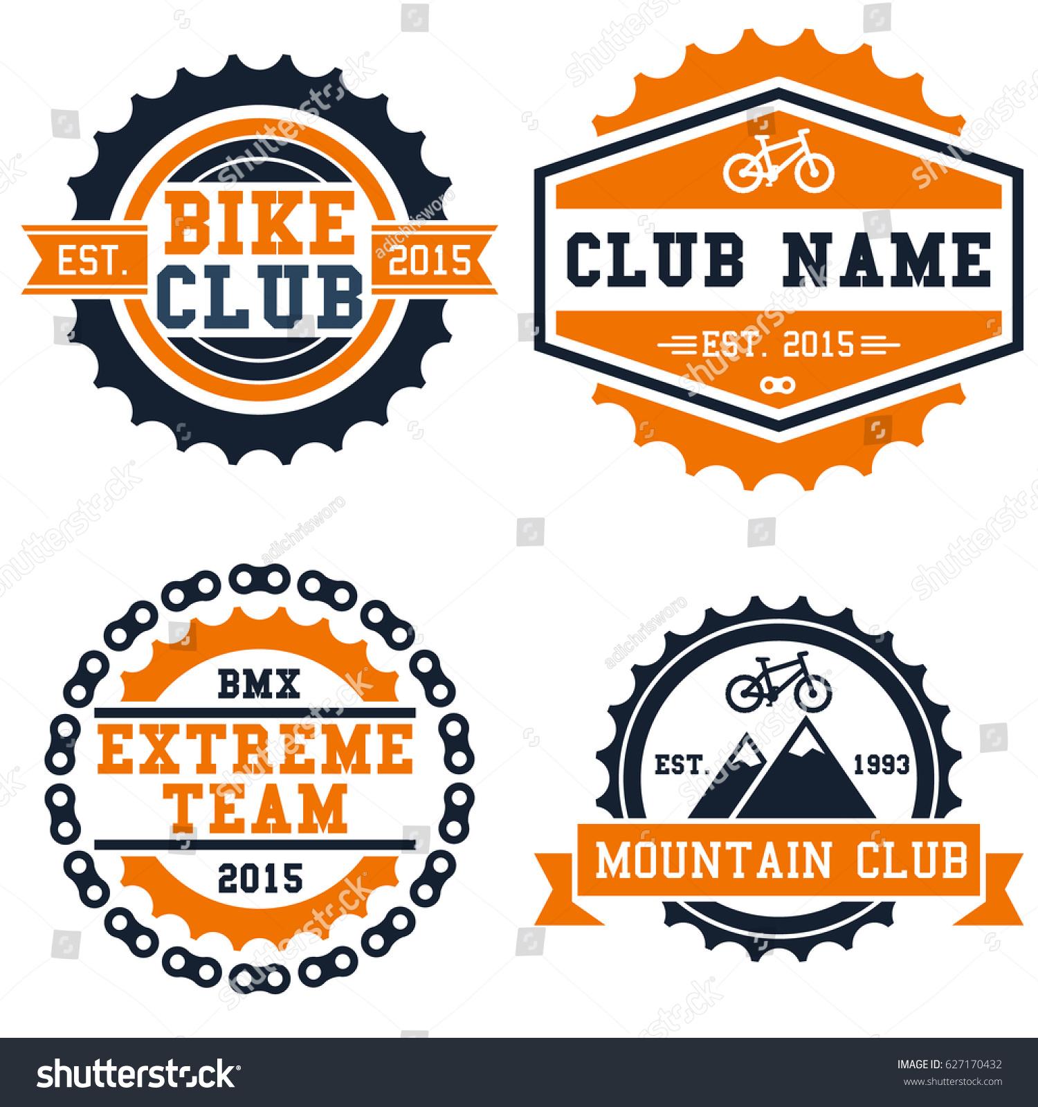 Bike club logo badge set isolated stock vector 627170432 bike club logo badge set isolated in white background biocorpaavc Images