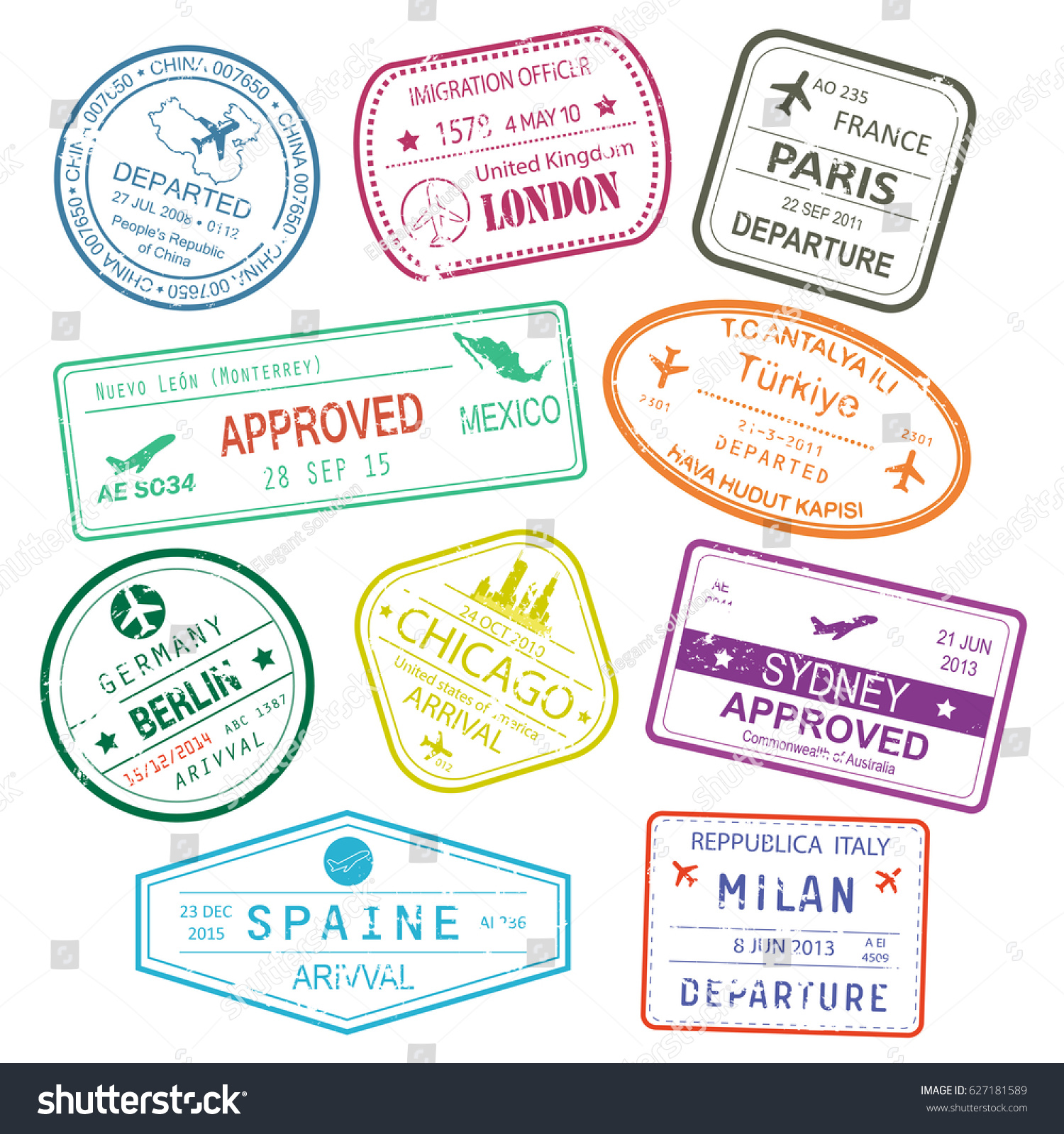 Different rubber stamps visa signs passport stock vector 627181589 different rubber stamps or visa signs in passport for germany berlin town or city china biocorpaavc Choice Image