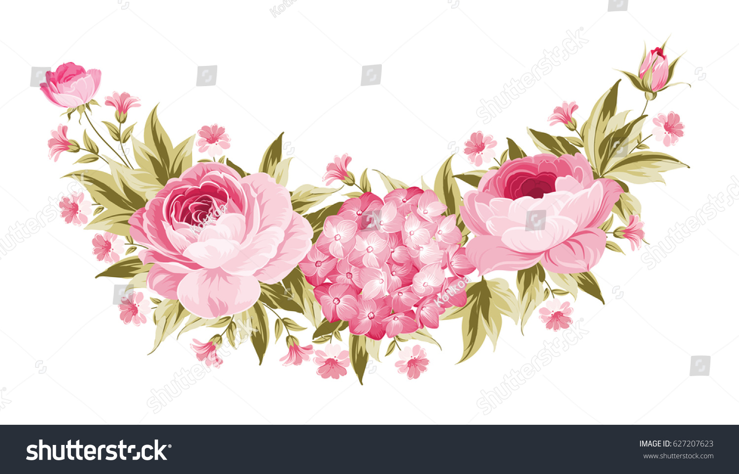 Template Invitation Card Peony Garland Holiday Stock Illustration