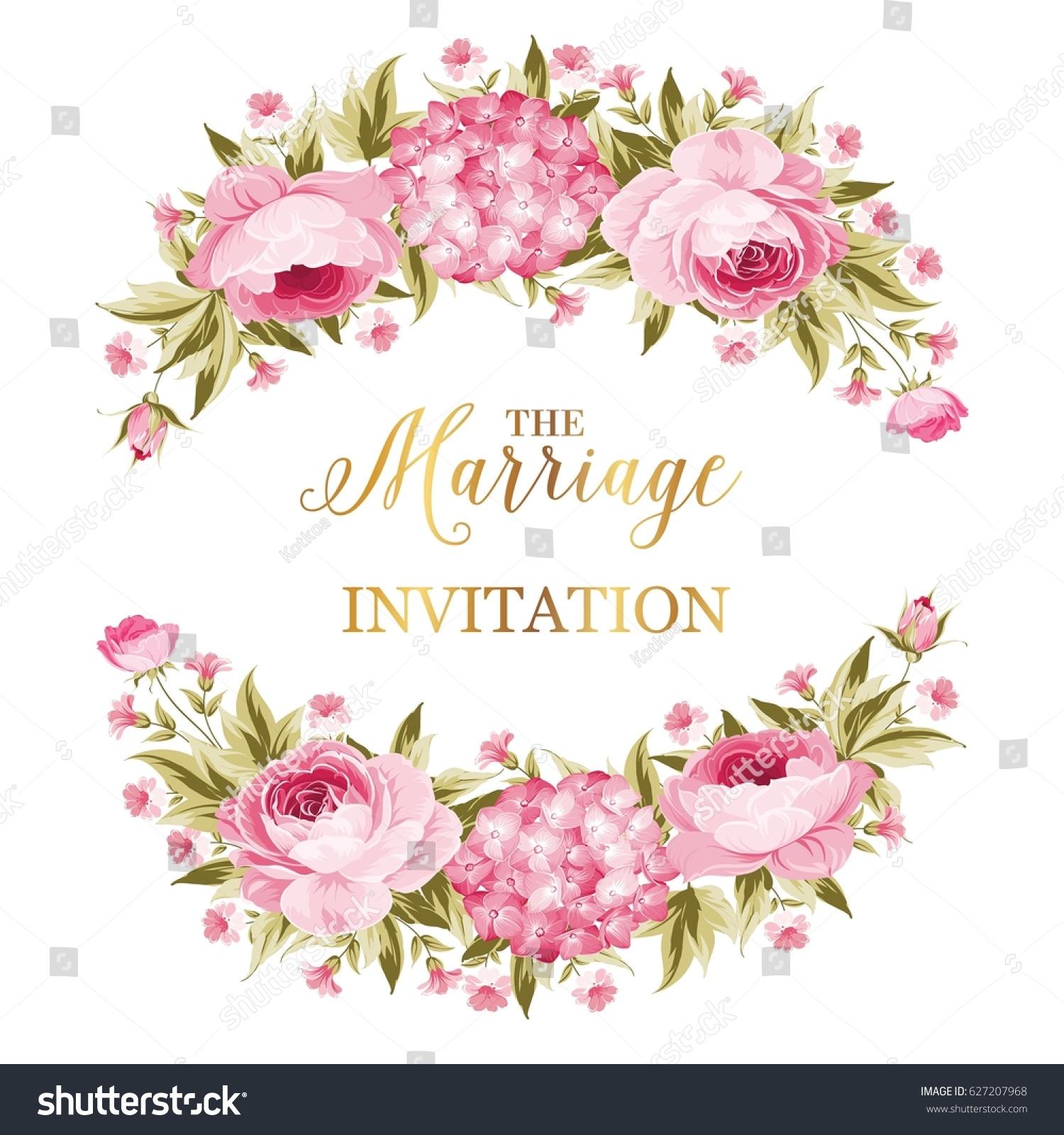 Marriage Invitation Card Peony Garland Holiday Stock Illustration