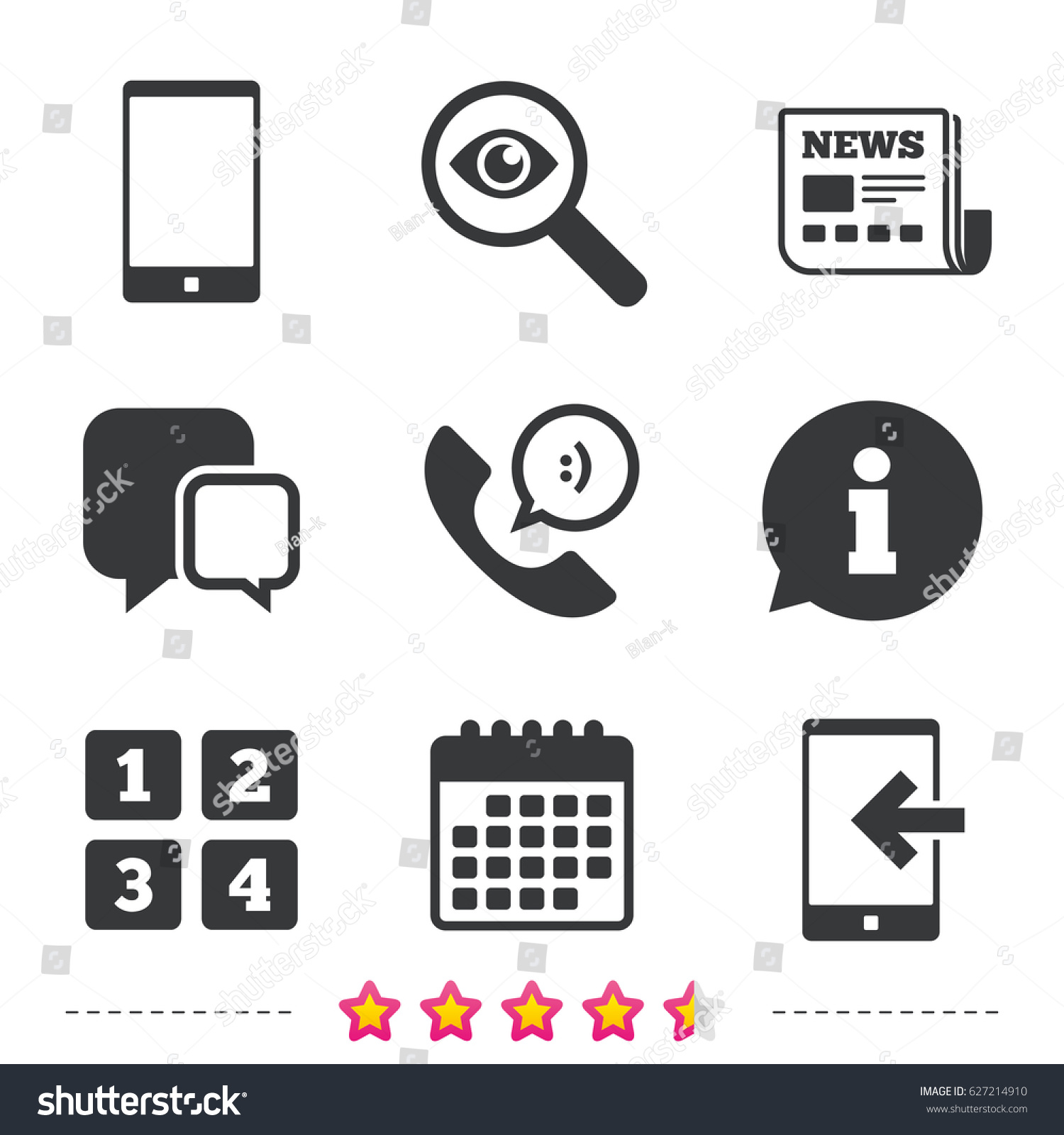 Phone icons smartphone incoming call sign stock vector 627214910 phone icons smartphone incoming call sign call center support symbol cellphone keyboard symbol biocorpaavc Gallery