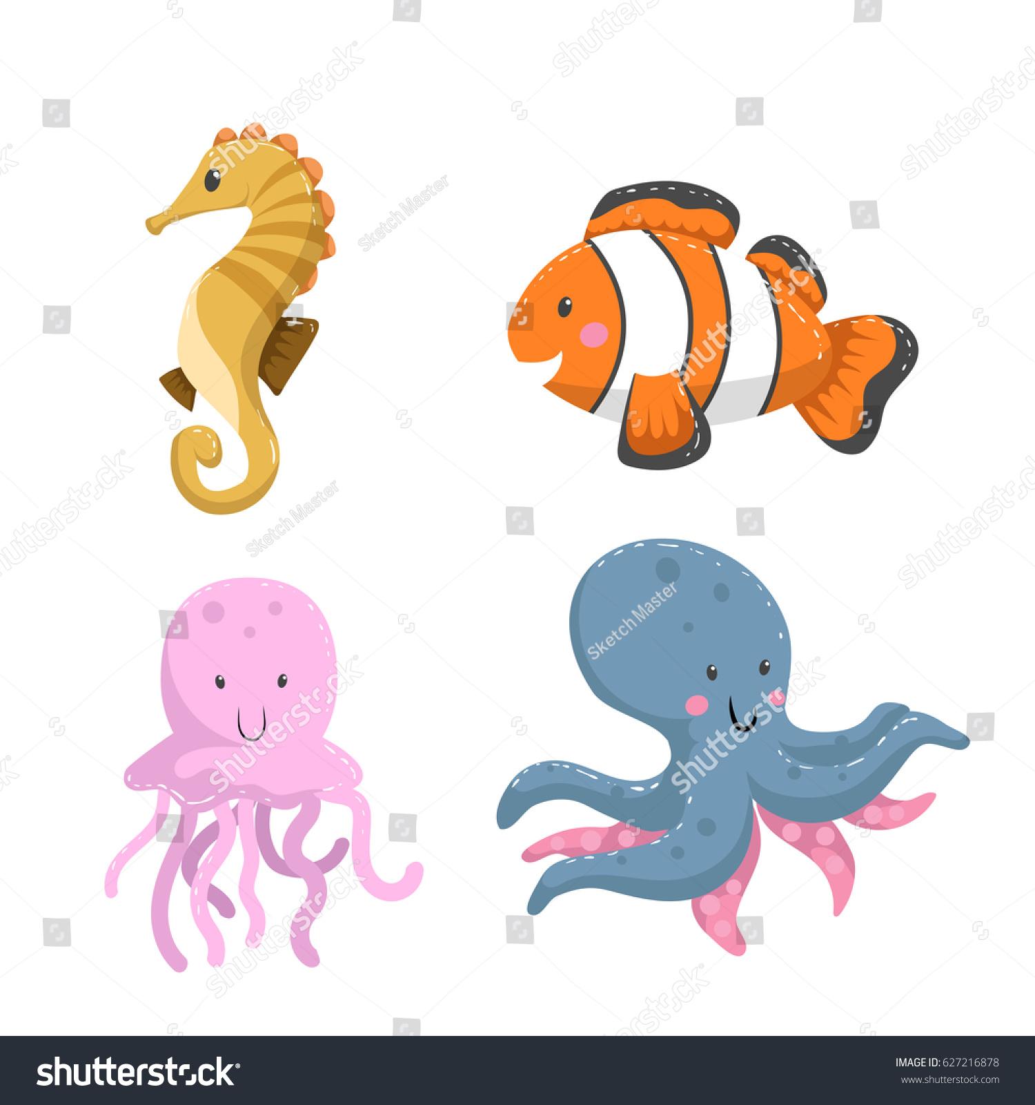 set tropical sea ocean animals seahorse stock vector 627216878