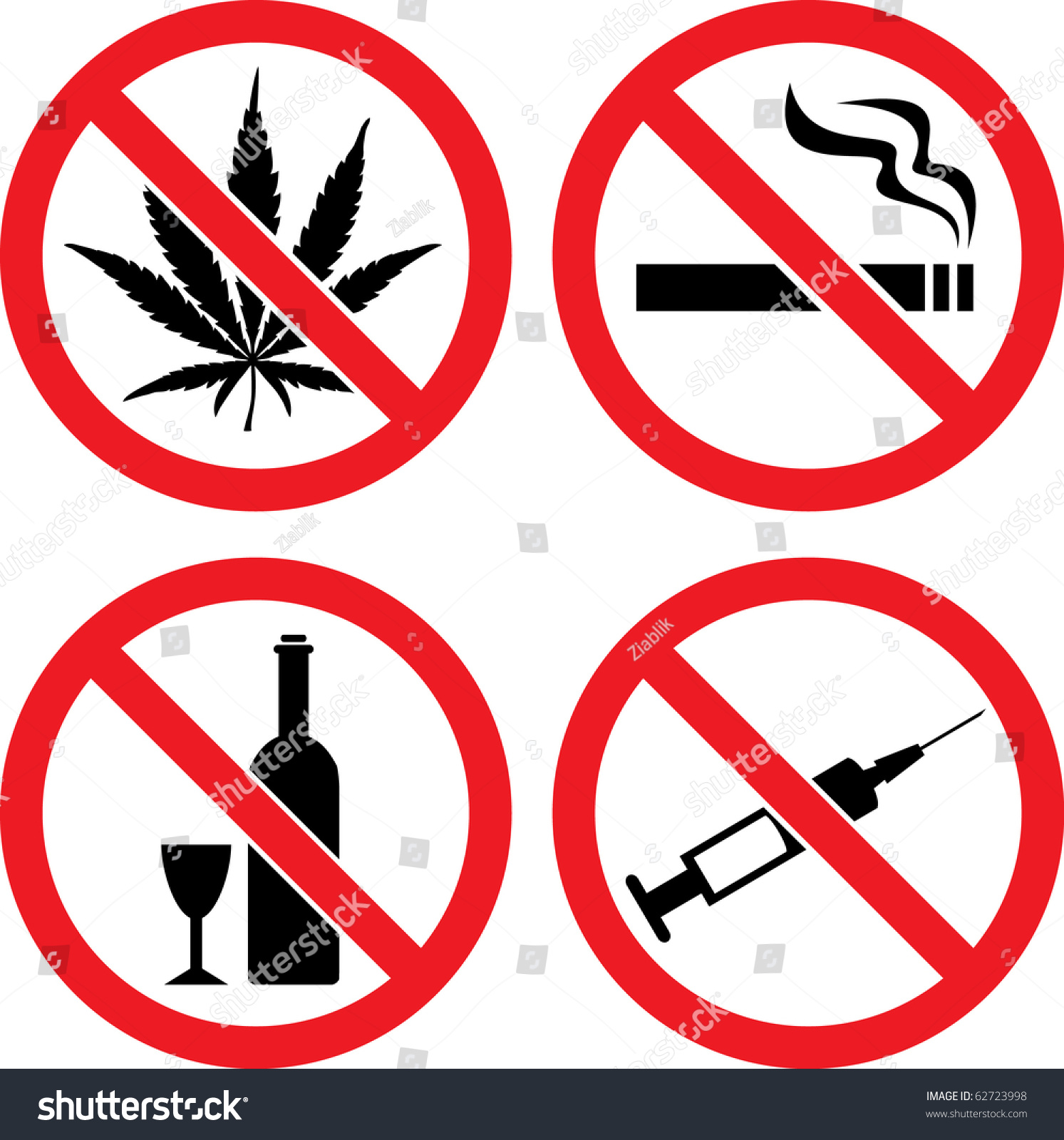 "Forbidding Vector Signs ""No Smoking"", ""No Drugs"", ""No Cannabis"" and ...: www.shutterstock.com/pic-62723998/stock-vector-forbidding-vector..."