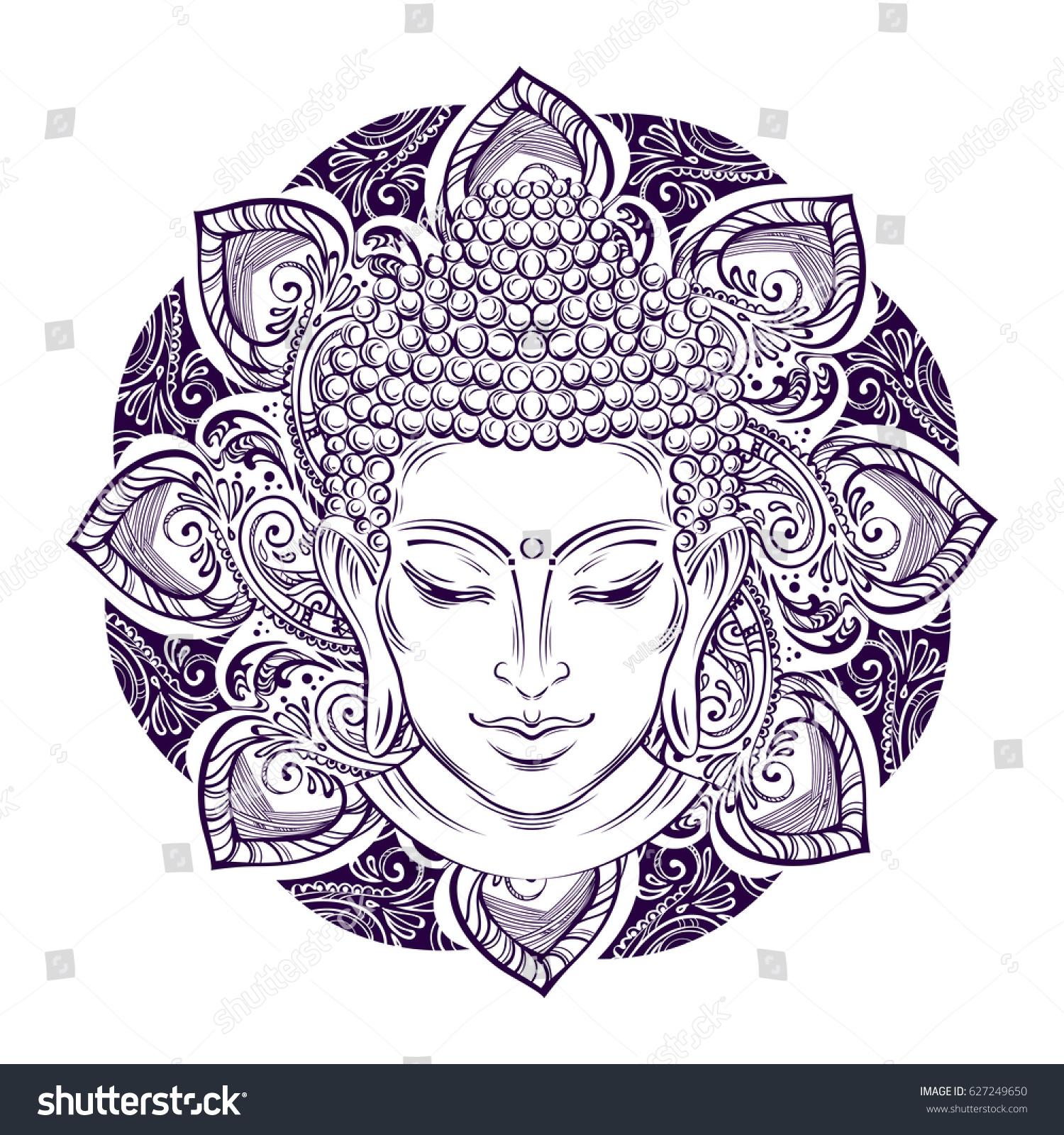 Buddha head paisley ornament mehendi symbol stock vector 627249650 buddha head with paisley ornament mehendi the symbol of hinduism buddhism spirituality buycottarizona Image collections