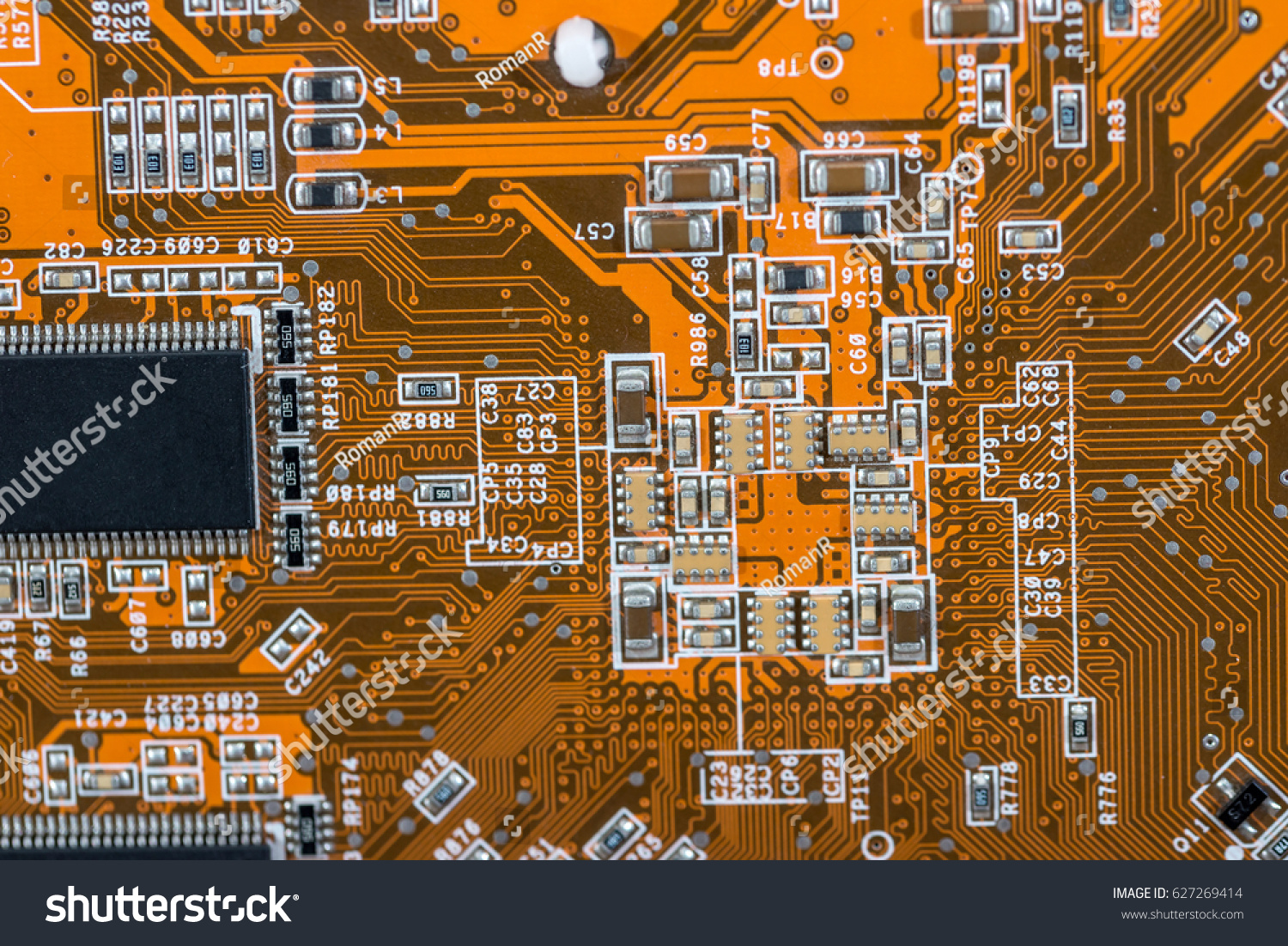 Back Side Old Red Circuit Board Stock Photo Edit Now 627269414 Royalty Free Image Of Background From Close Up A