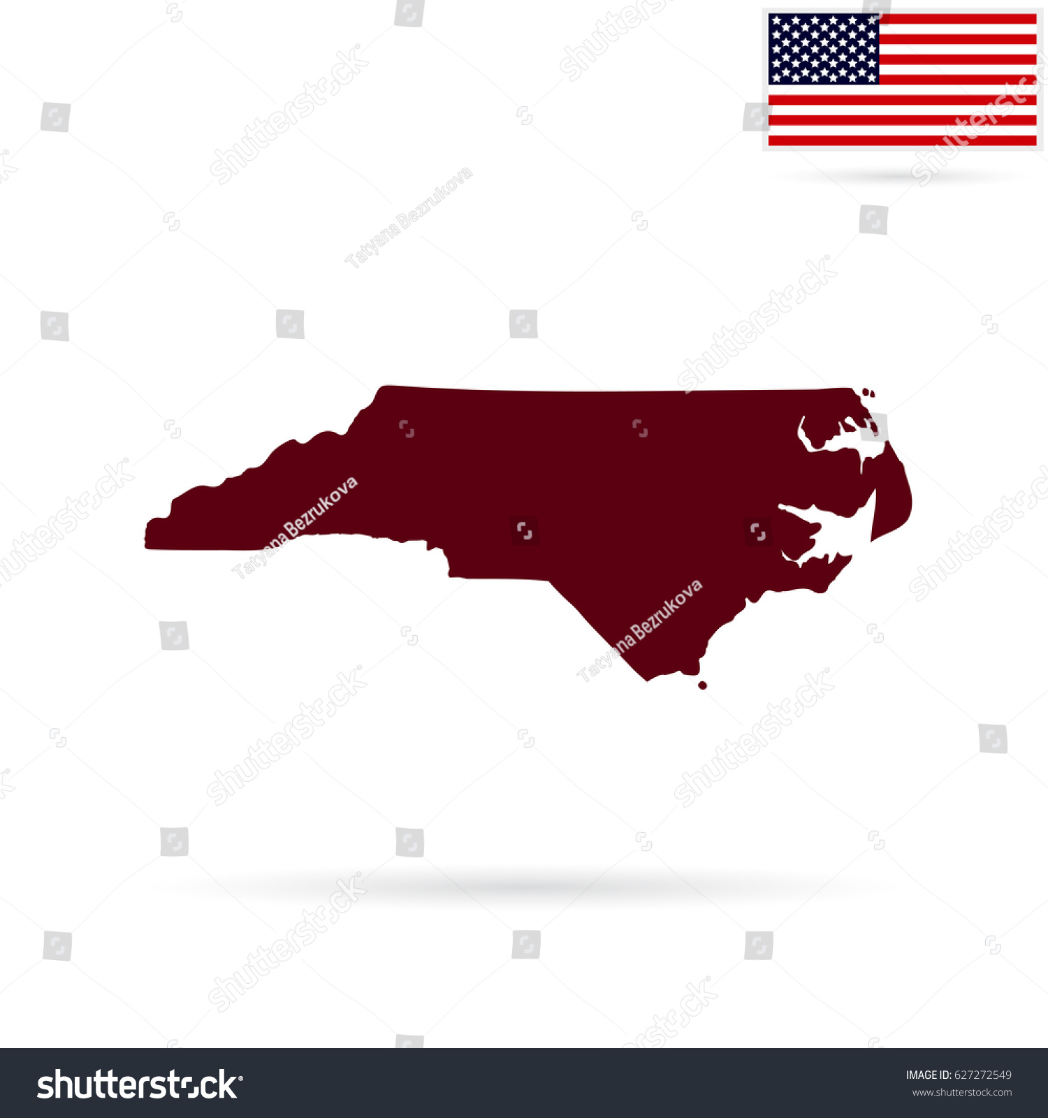 Map Us State North Carolina On Stock Illustration - Us map all white red background