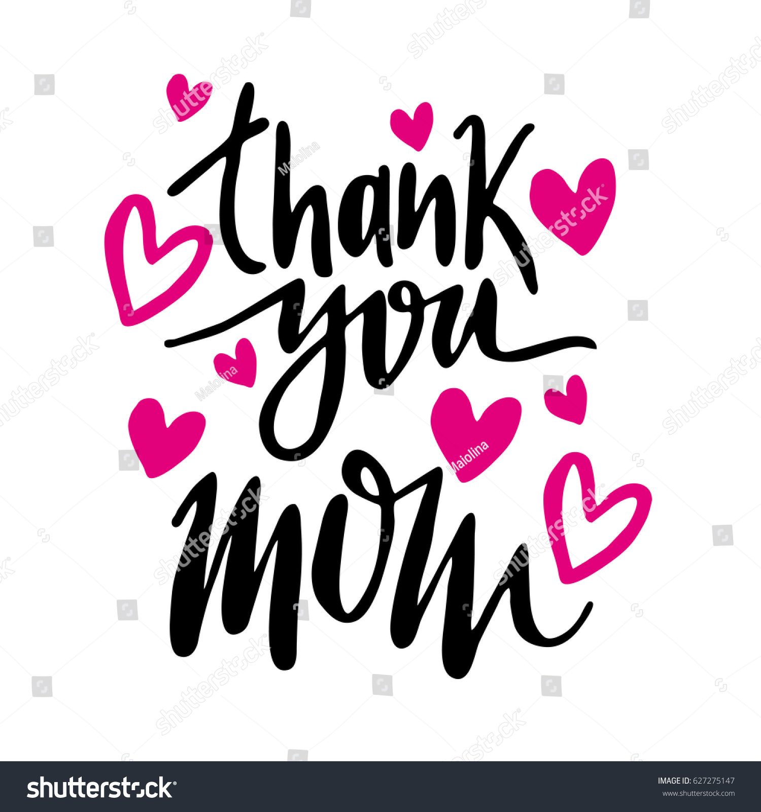 Message Thank You Mom Happy Mothers Day Lettering Greeting Card