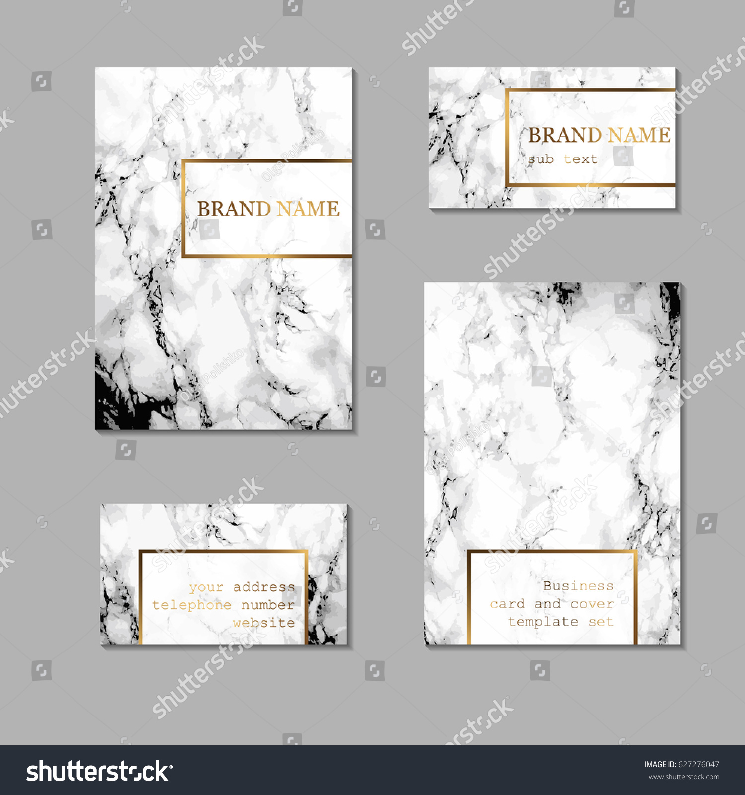 Business Card Cover Template Set Elegant Stock Vector 627276047 ...