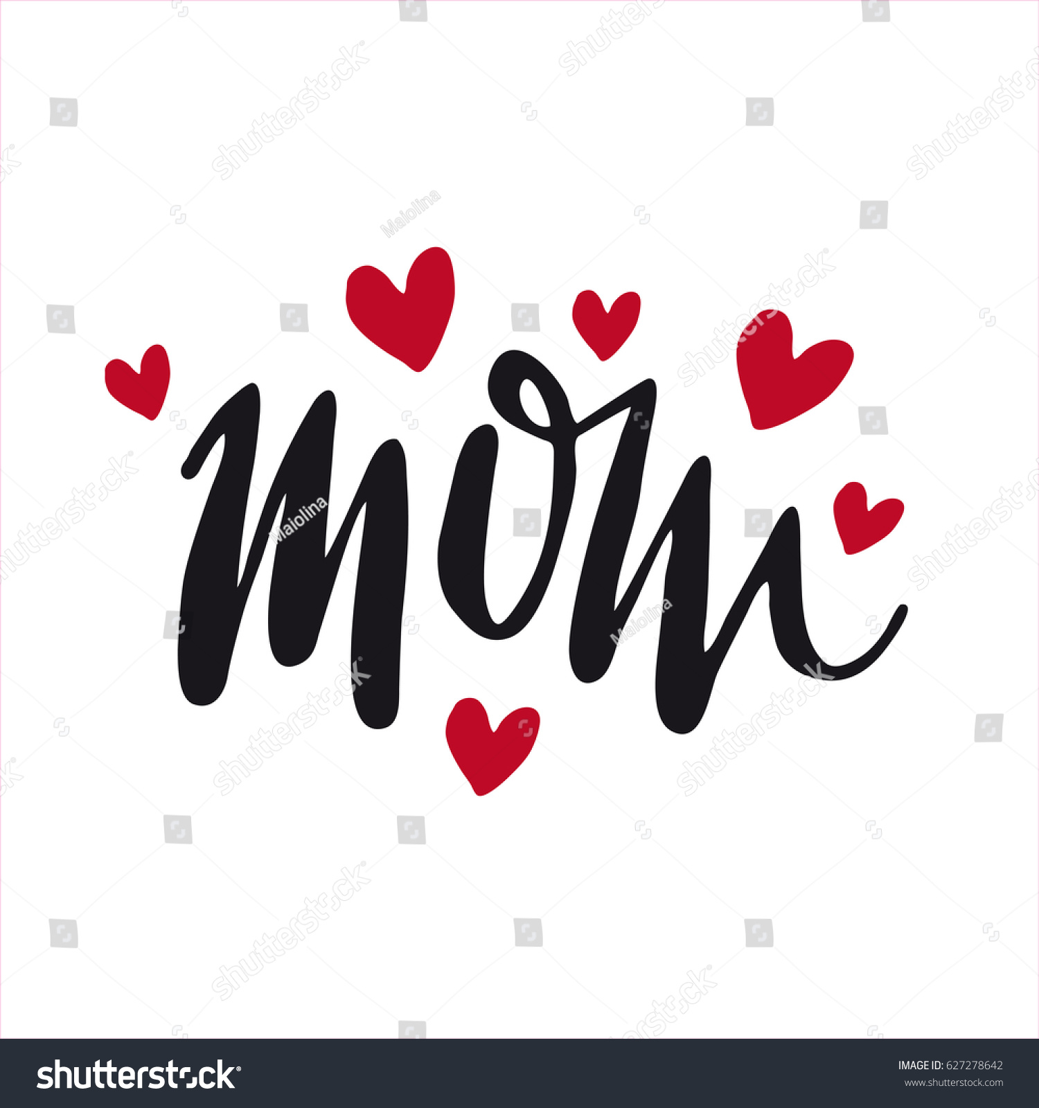 Message Mom Happy Mothers Day Lettering Stock Vector Royalty Free