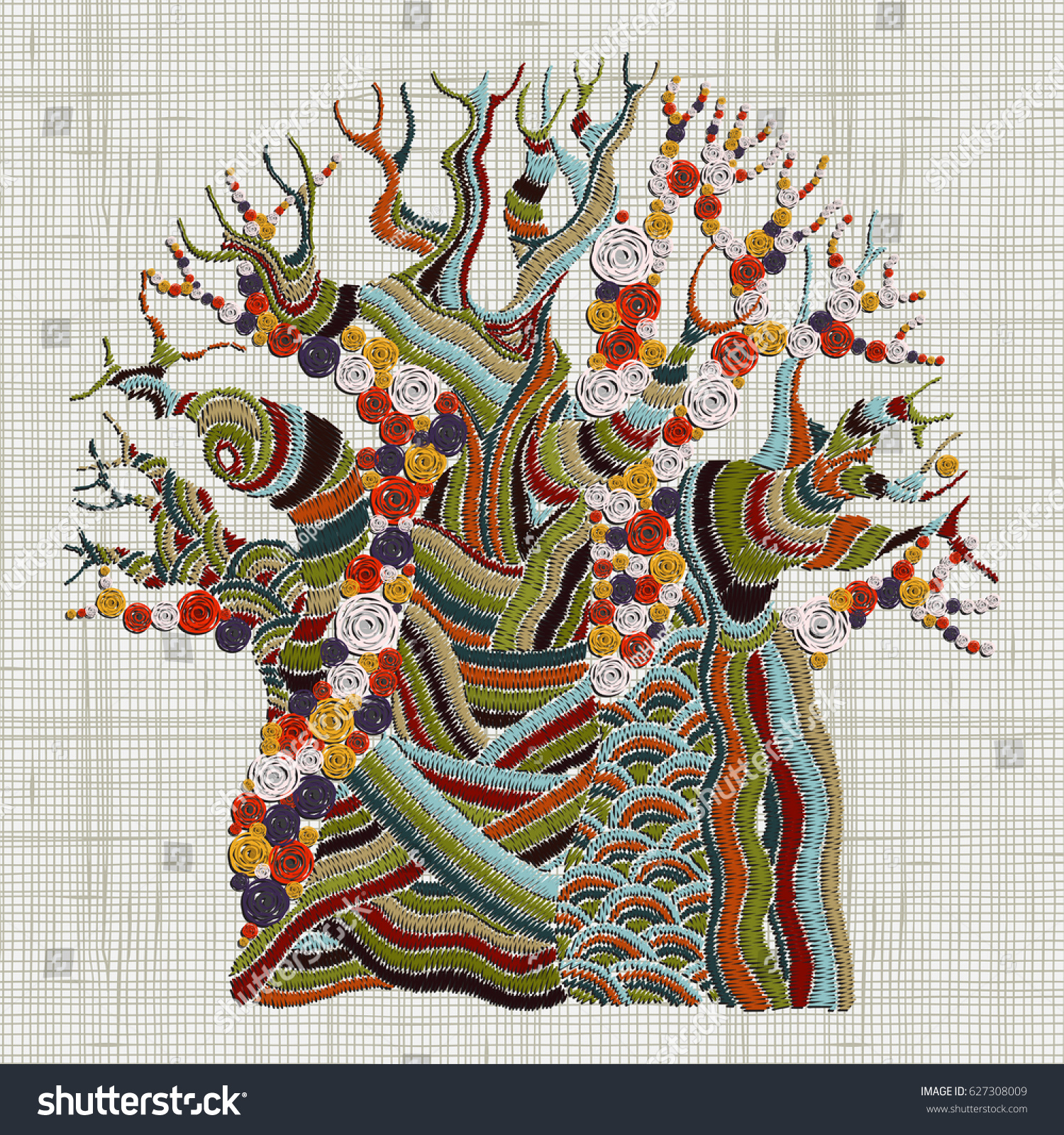 Hand stitched embroidered baobab tree african stock vector hand stitched embroidered baobab tree african tree ethnic wall art embroidery home decor amipublicfo Image collections