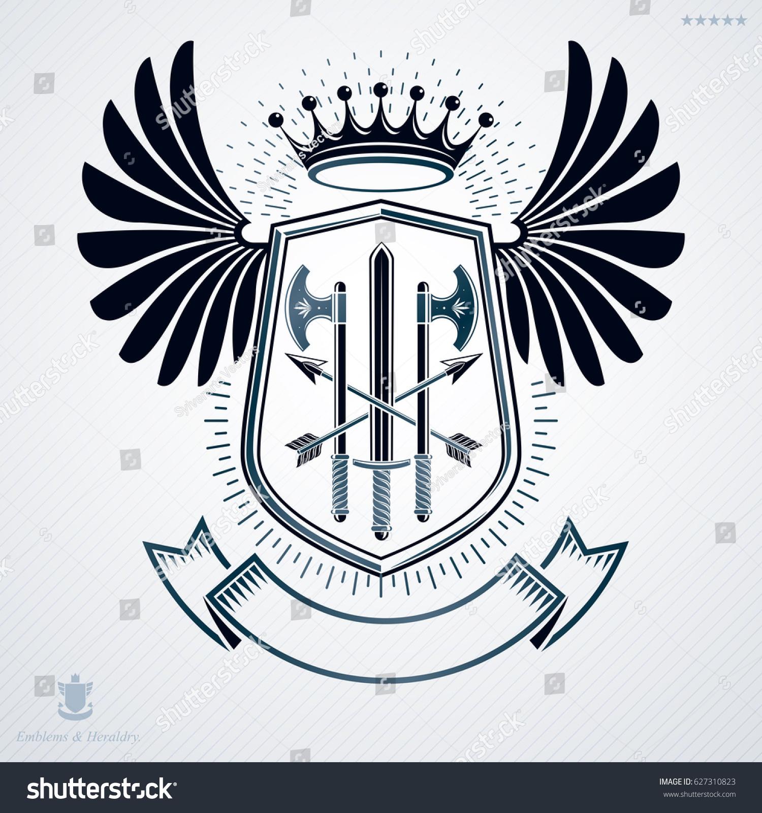 Heraldic coat arms decorative emblem symbolic stock illustration heraldic coat of arms decorative emblem symbolic illustration in vintsge style biocorpaavc Images
