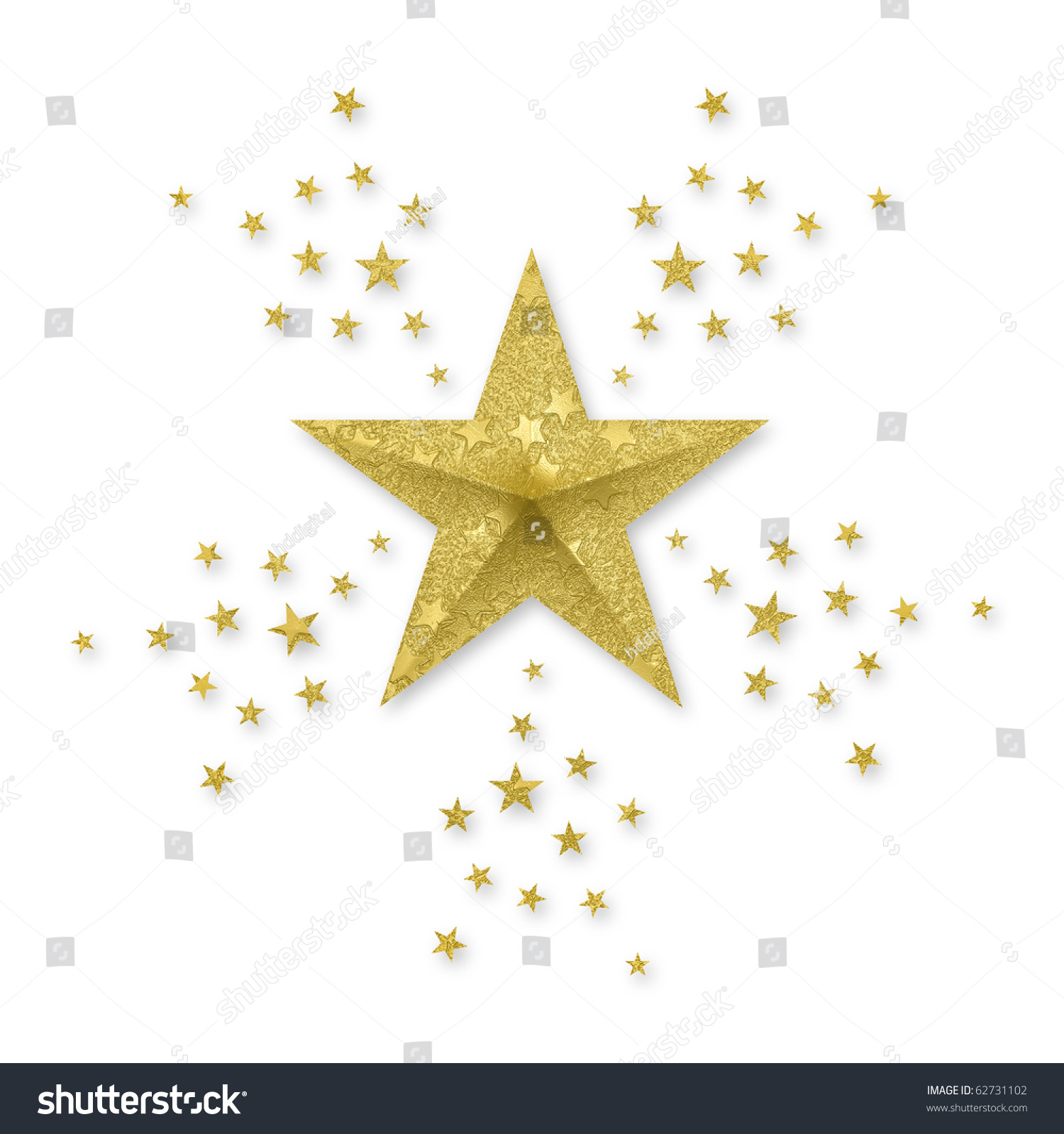 Gold star small stars radiating out stock illustration