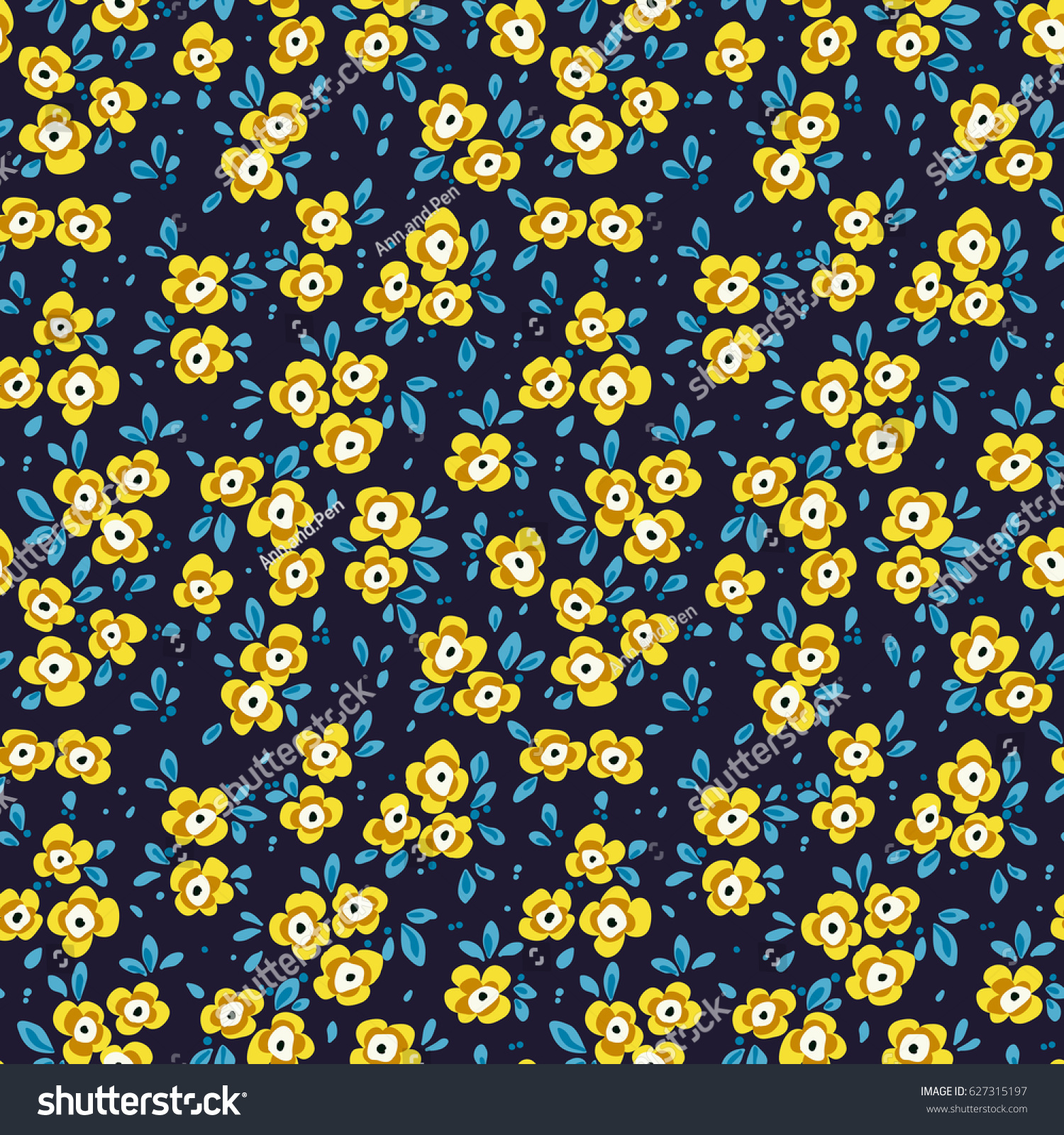 Simple Cute Pattern Small Yellow Blue Stock Vector Royalty Free