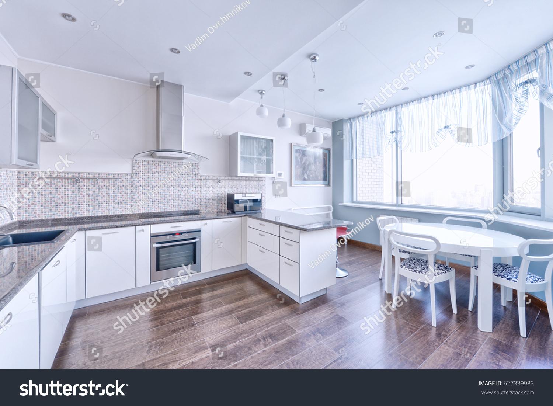 Interior Design Modern White Kitchen New Stock Photo 627339983    Shutterstock