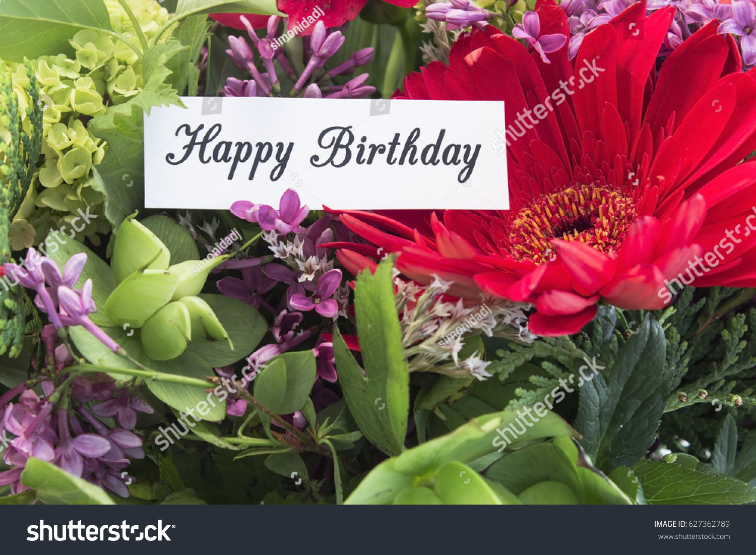 Happy Birthday Card Bouquet Spring Flowers Stock Photo Edit Now