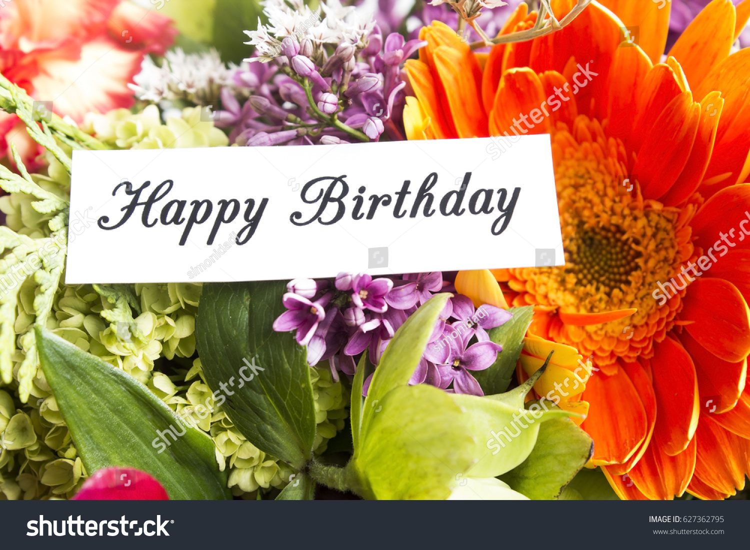 Happy Birthday Card Bouquet Spring Flowers Stock Photo (Royalty Free ...
