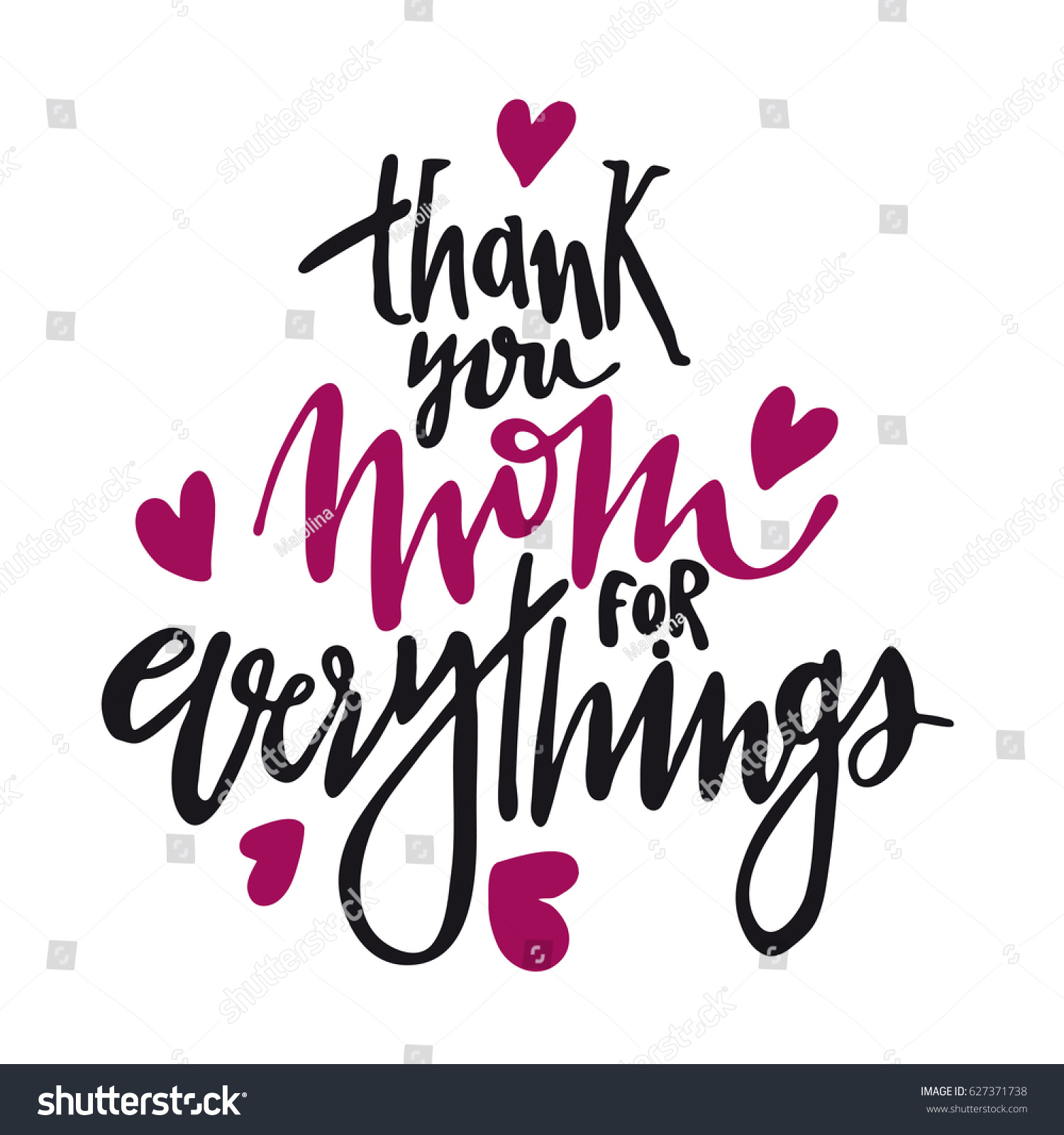 Message Thank You Mom Everythings Happy Stock Vector Royalty Free