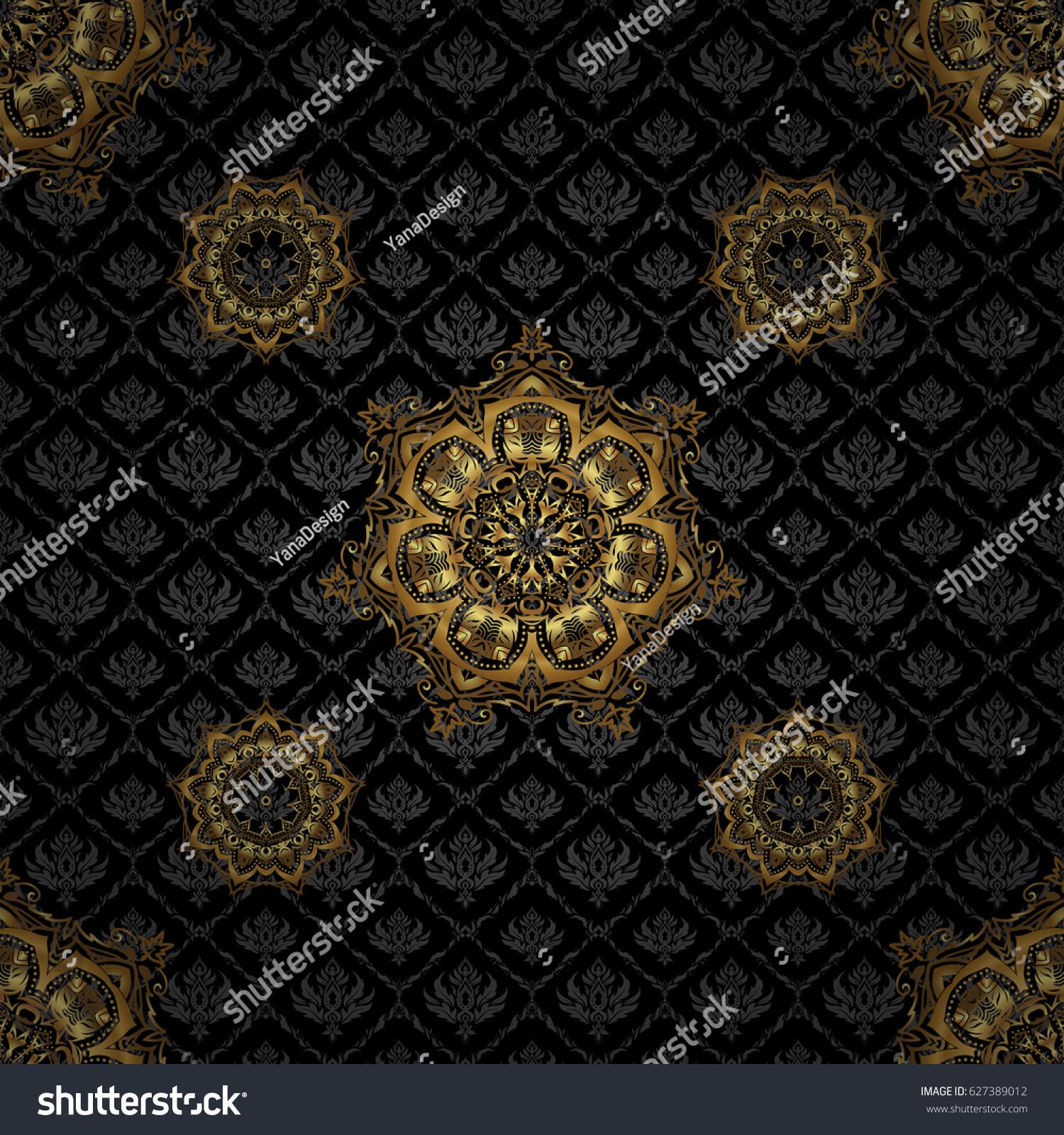 Seamless Pattern Victorian Style On Black Stock Vector ...