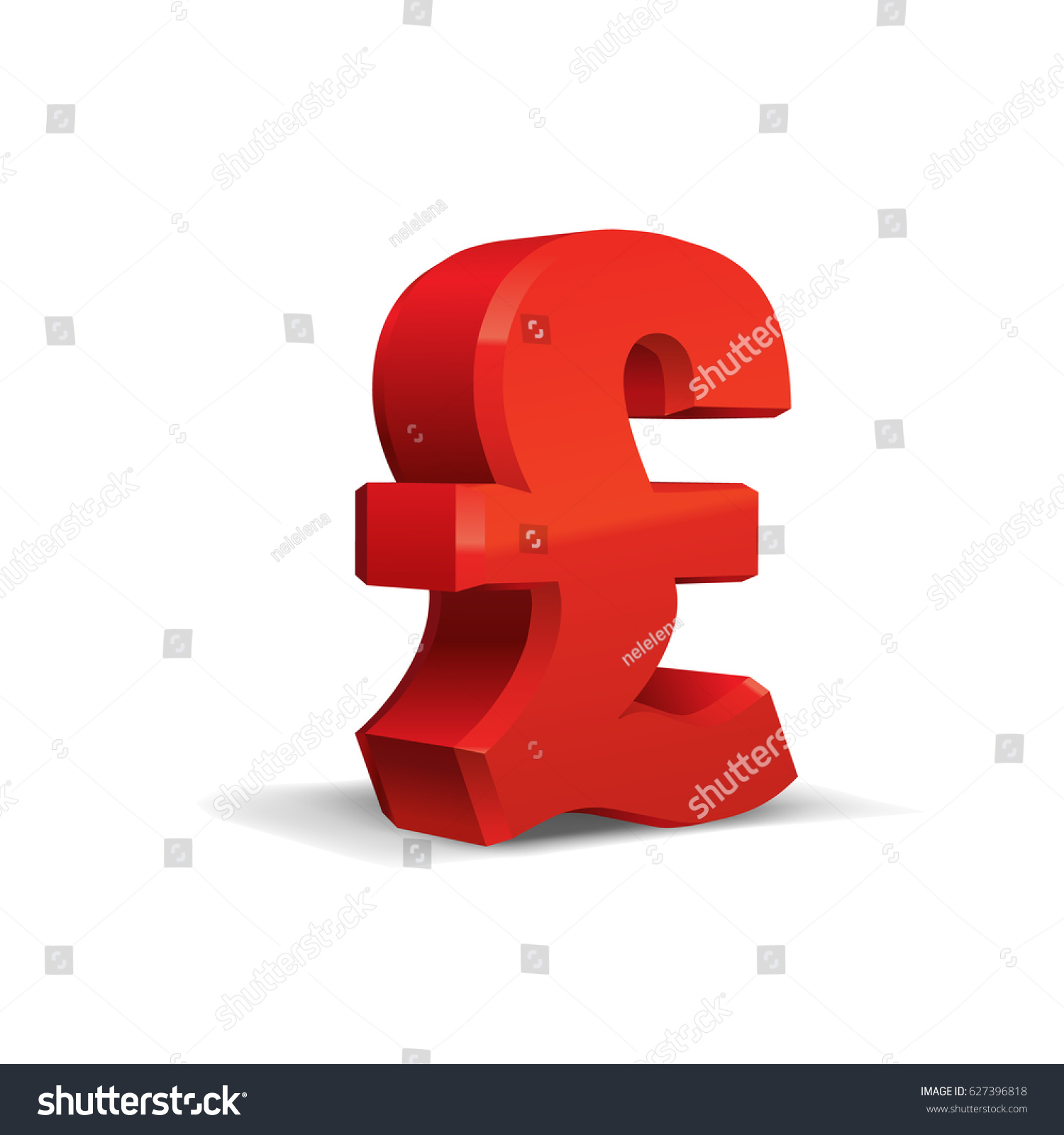 Red 3d pound sterling sign currency stock vector 627396818 red 3d pound sterling sign currency symbol vector illustration isolated on white background biocorpaavc Gallery