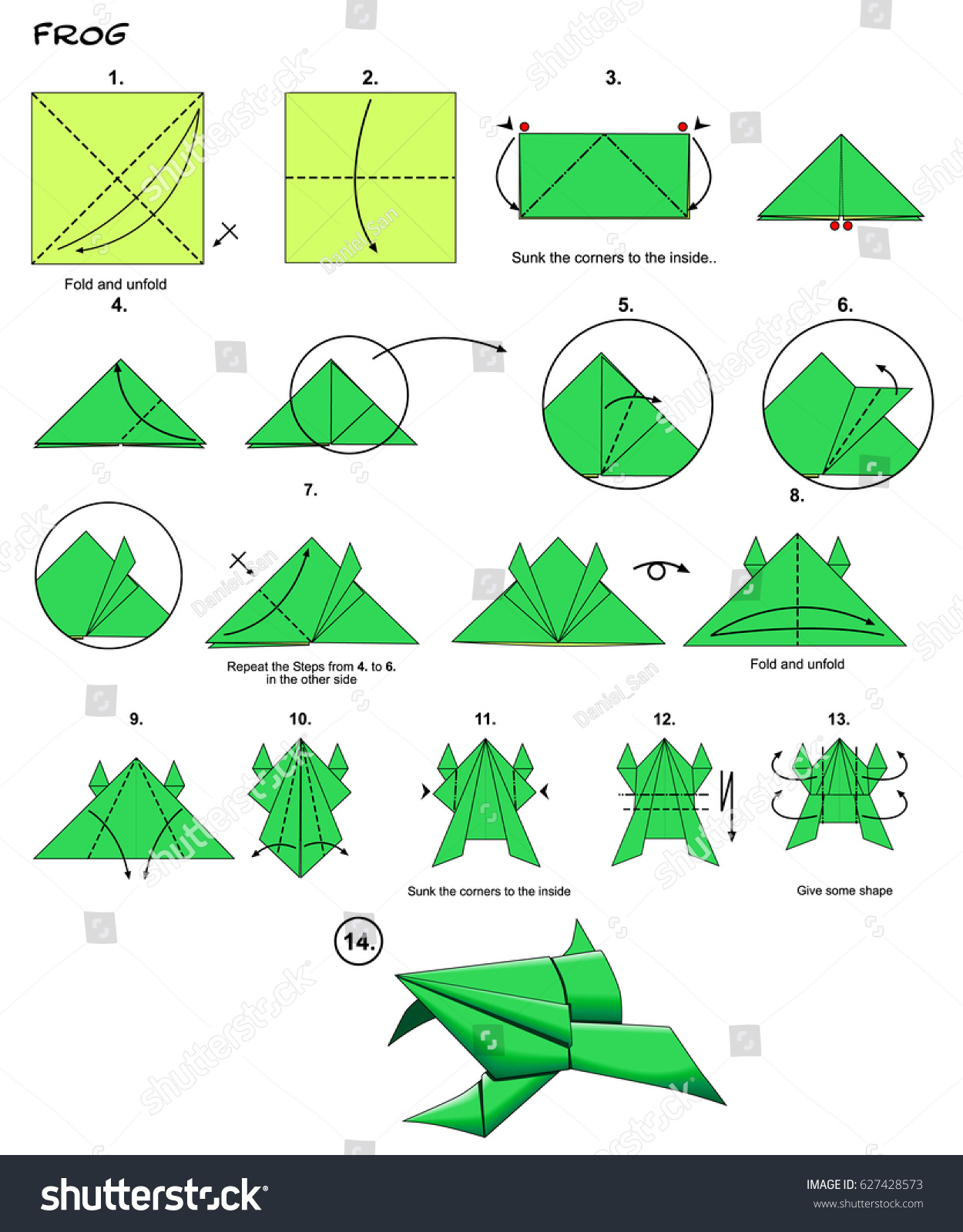 Origami Animal Traditional Frog Diagram Instructions Stock