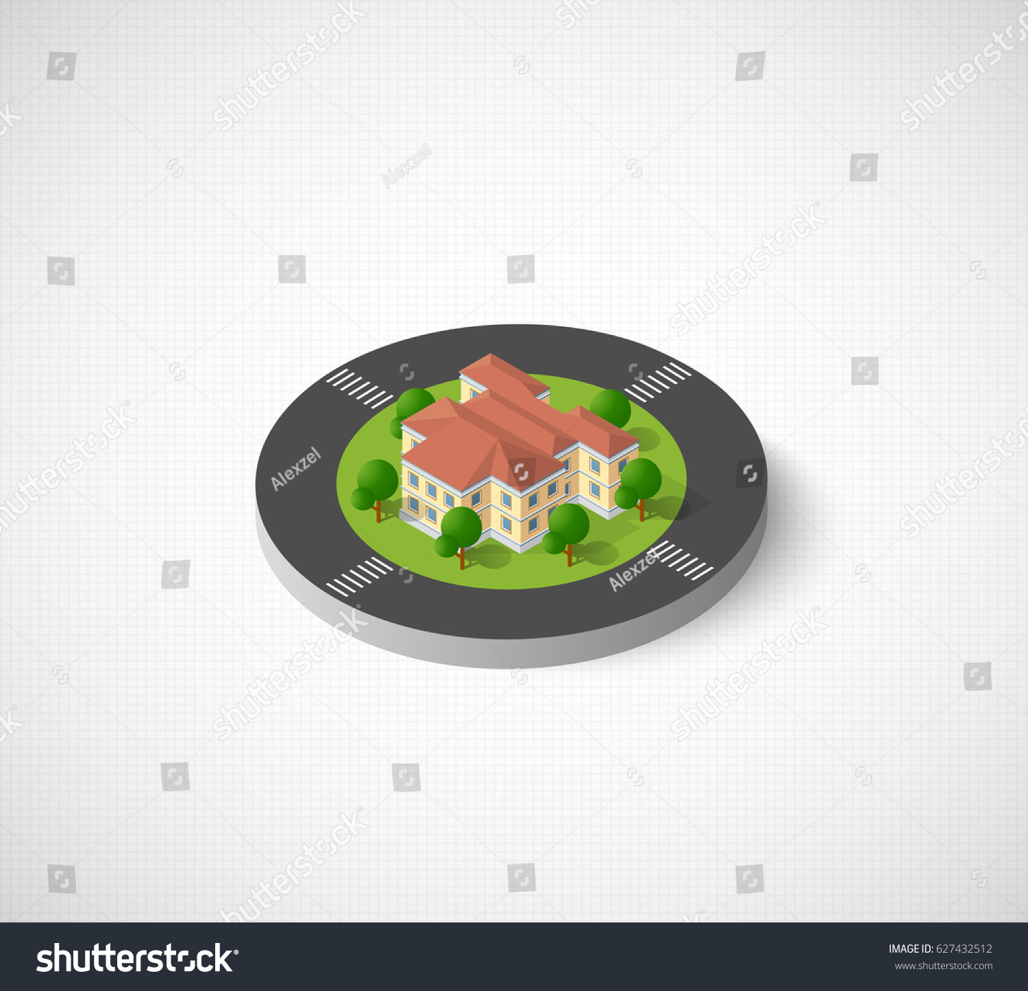 Icon city isometric houses skyscrapers streets stock vector icon of the city with isometric houses skyscrapers streets and trees urban signs biocorpaavc
