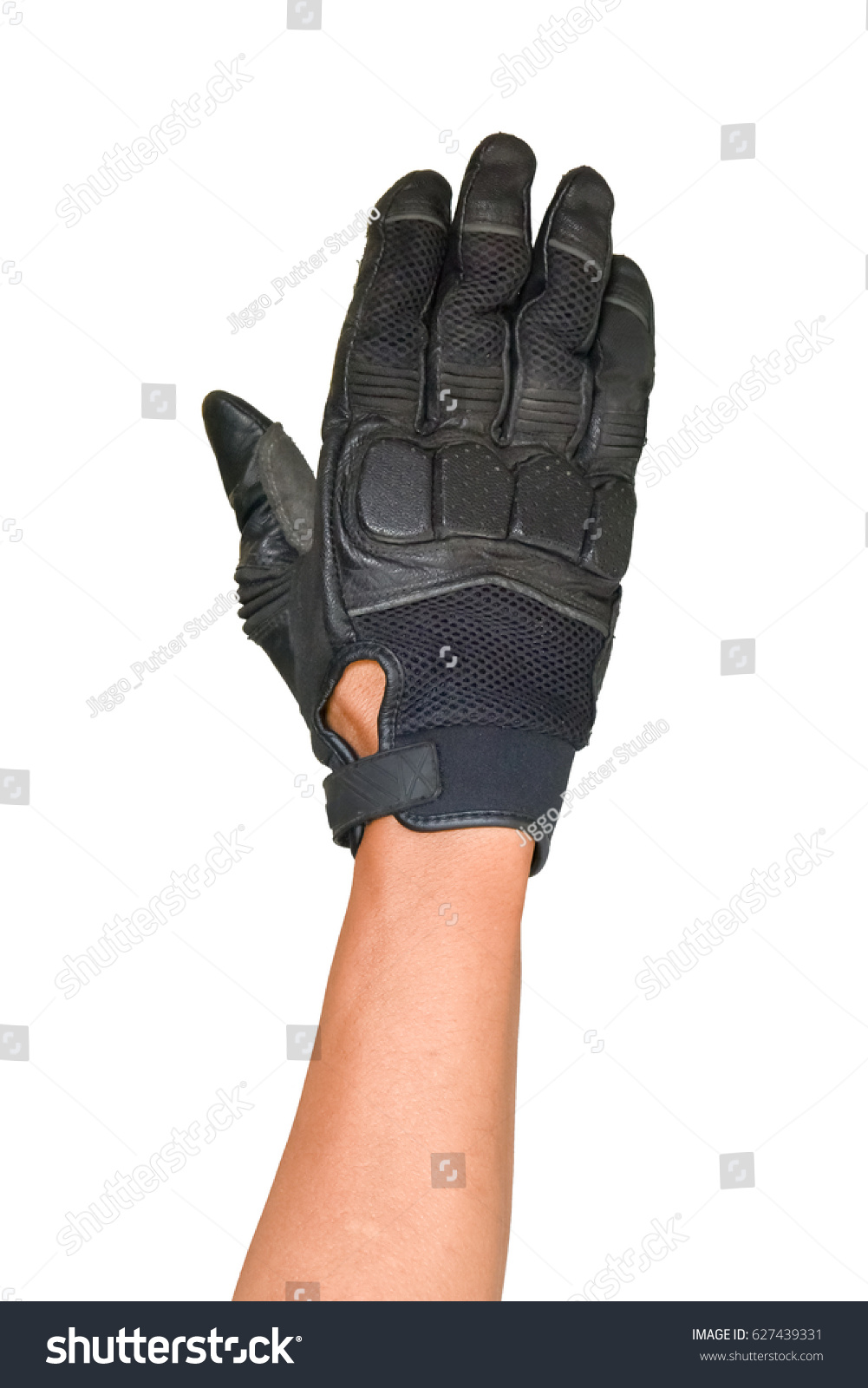 Motorcycle gloves with id pocket - Motorcycle Glove And Hand Signal Slow Down Or Stop Isolated On White Background