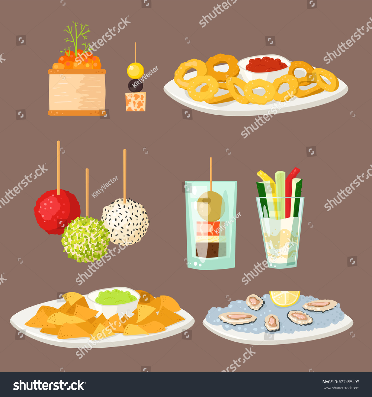 Various meat canape snacks appetizer fish stock vector for Canape vector download