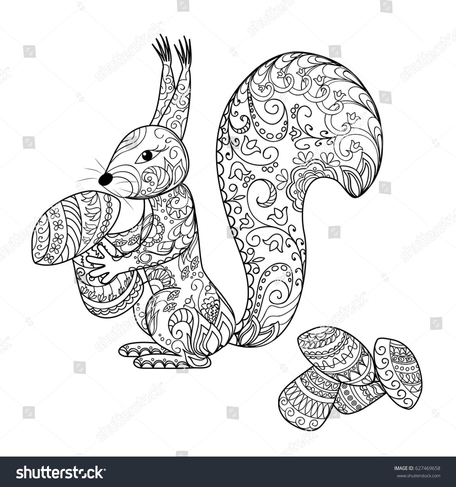 Hand Drawn Decorated Cartoon Squirrel With Mushrooms Zentangle Style Henna Paisley Flowers Mehndi