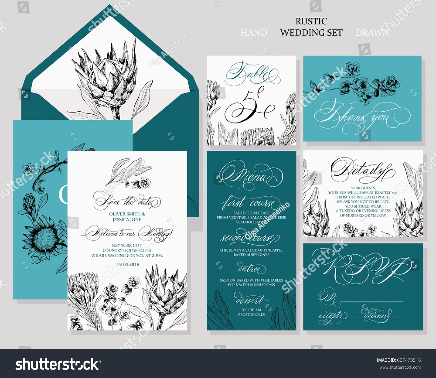 Template Rustic Wedding Invitations Save Date Stock Vector 627473516 ...