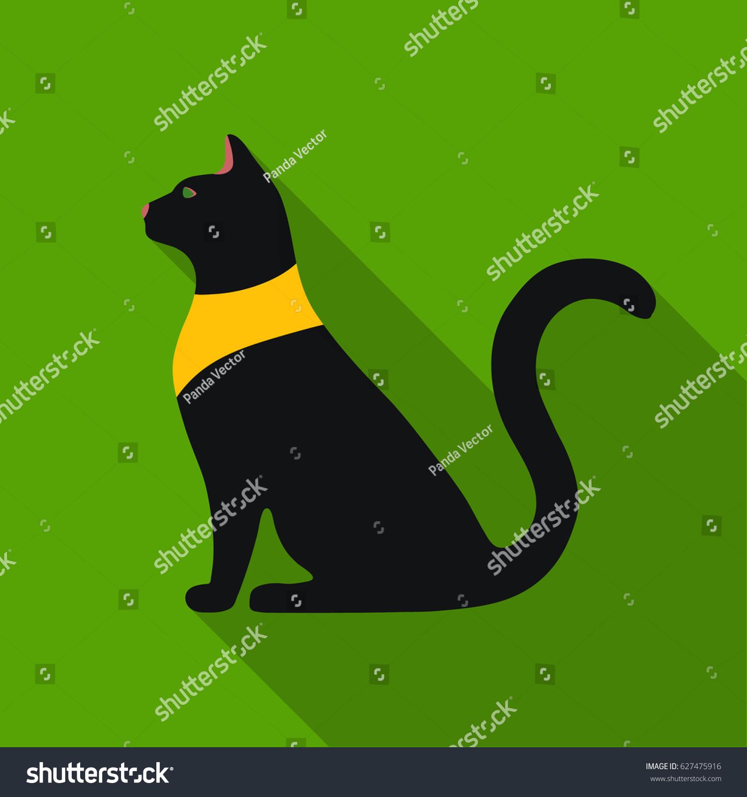 Cat Goddess Bastet Icon Flat Style Stock Vector Royalty Free