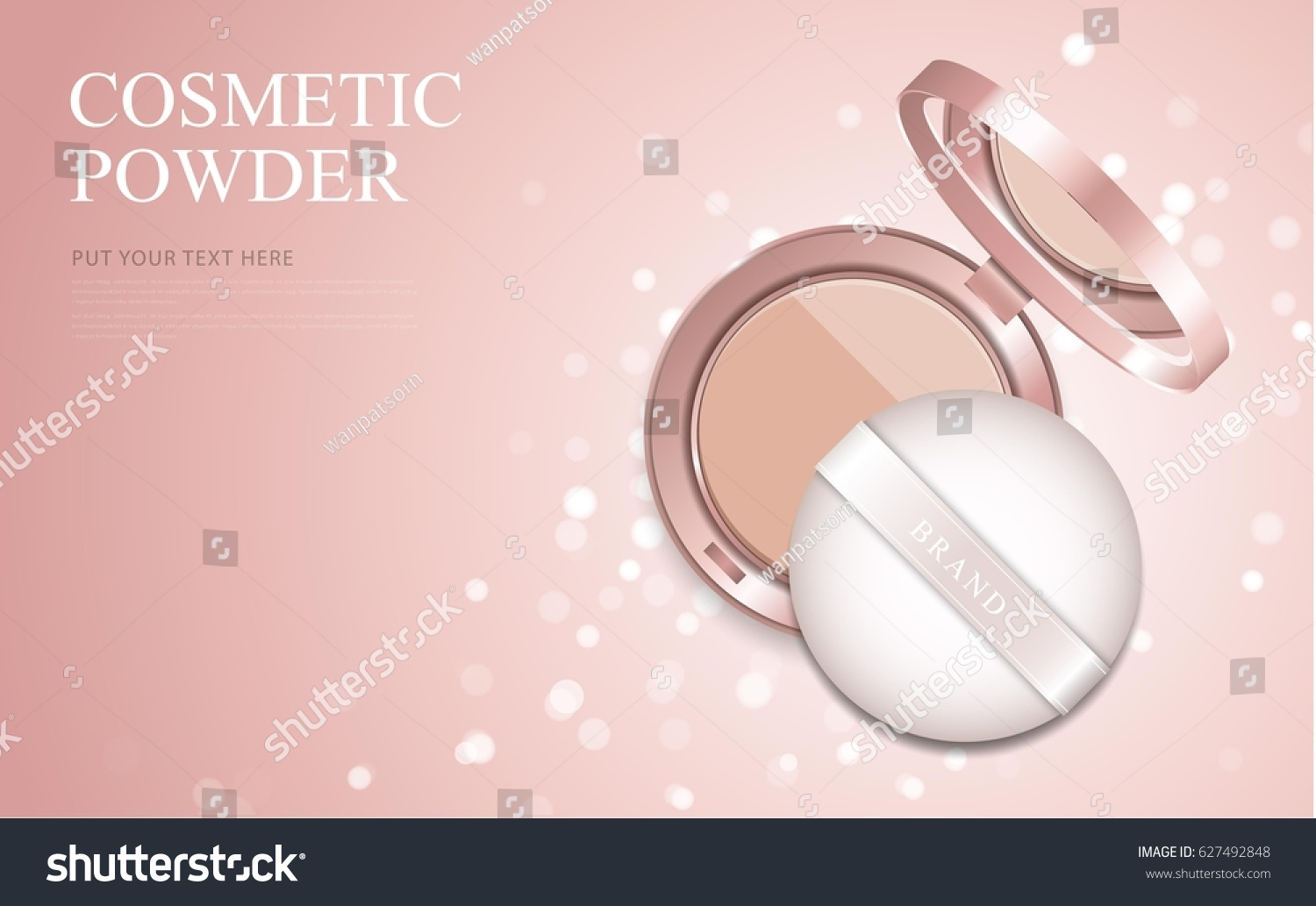 Luxury Makeup Powder Ads Pink Package Stock Vector (2018) 627492848 ...