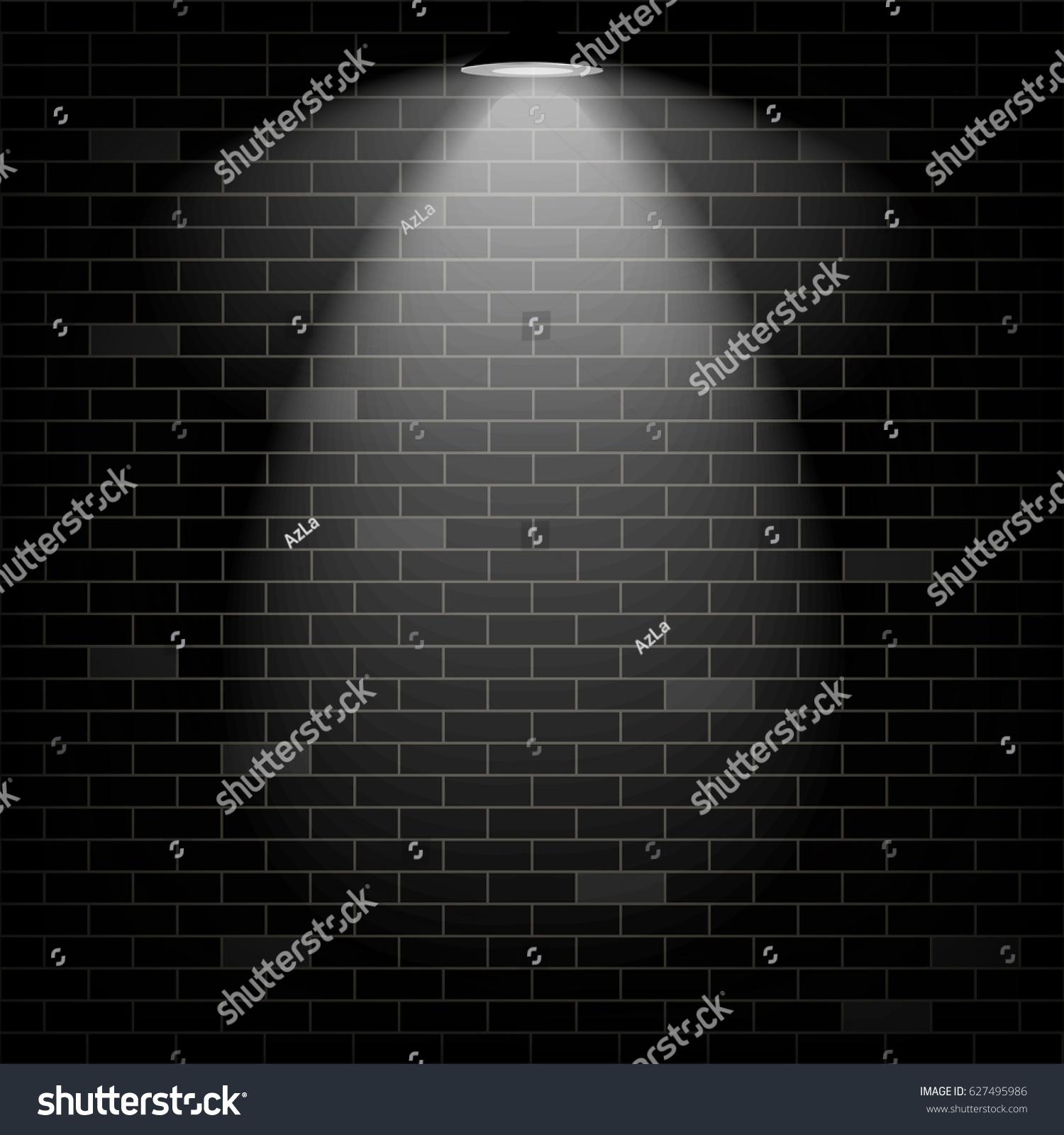 Vector Scene Illuminated Spotlight Black Bricks Wall Background