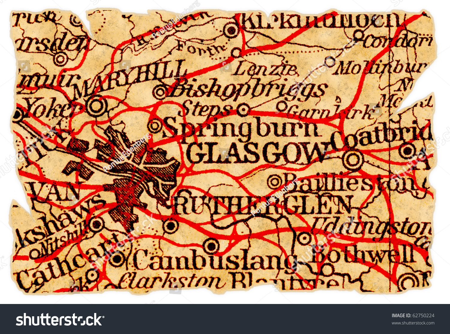Glasgow Scotland On Old Torn Map Stock Photo (Edit Now) 62750224