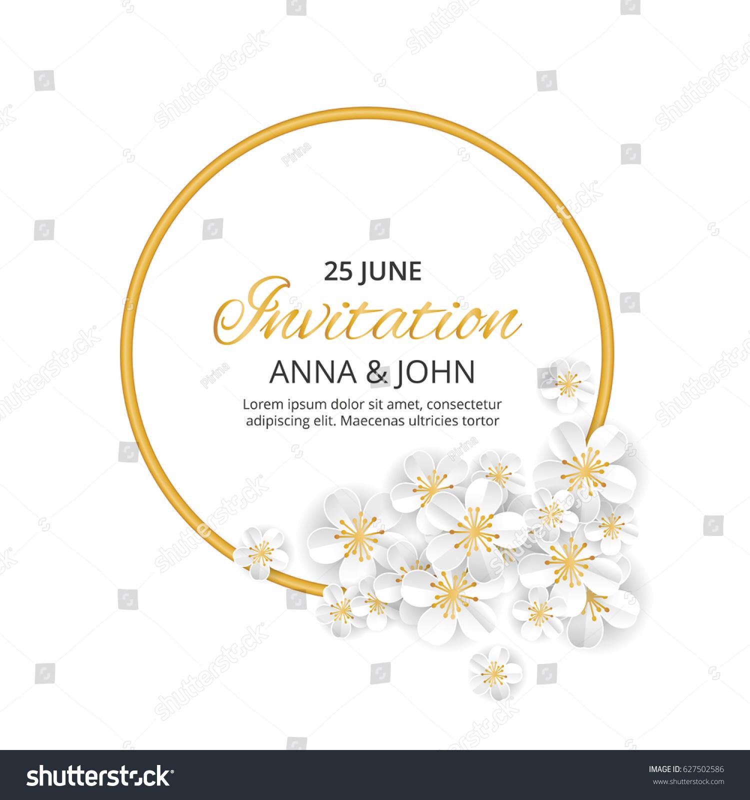 gold flower wedding paper wedding invitation stock vector royalty
