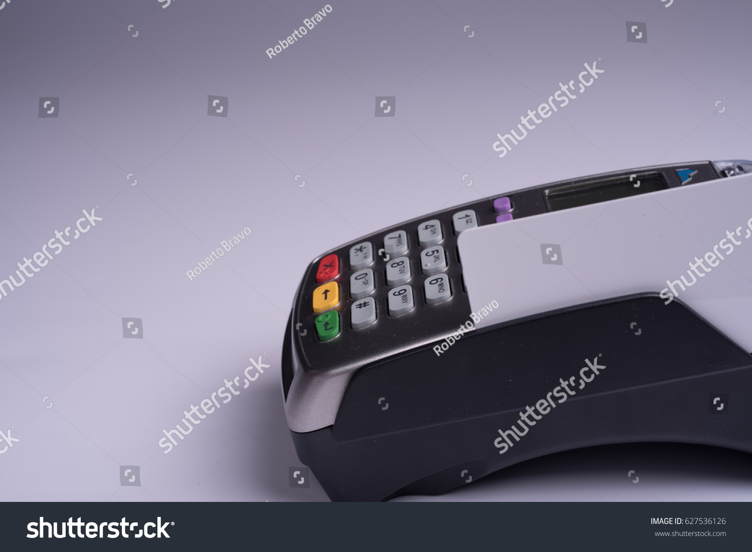 Payment Terminal White Label Credit Card Stock Photo (Edit