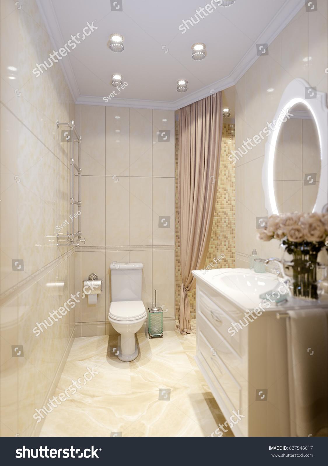 Modern Classic Bathroom Interior Design Beige Stock Illustration ...