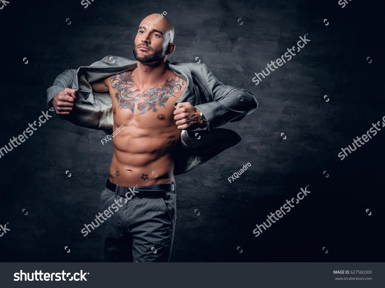 Studio Portrait Shaved Head Tattooed Male Stock Photo 627560300 - Shutterstock-4893