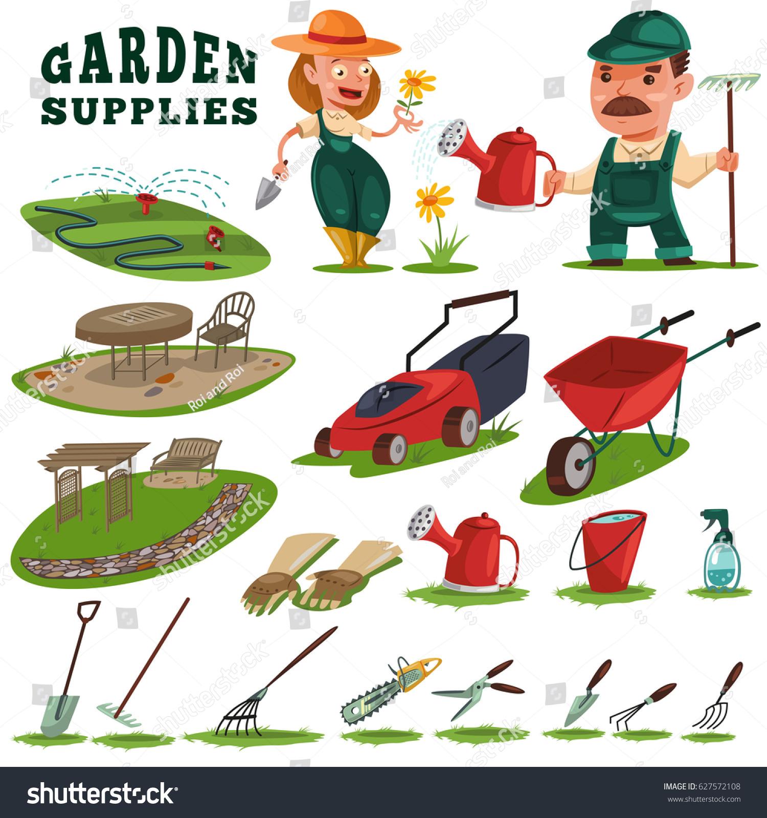 Gardeners man woman gardening supplies tools stock vector for Gardeners supply burlington