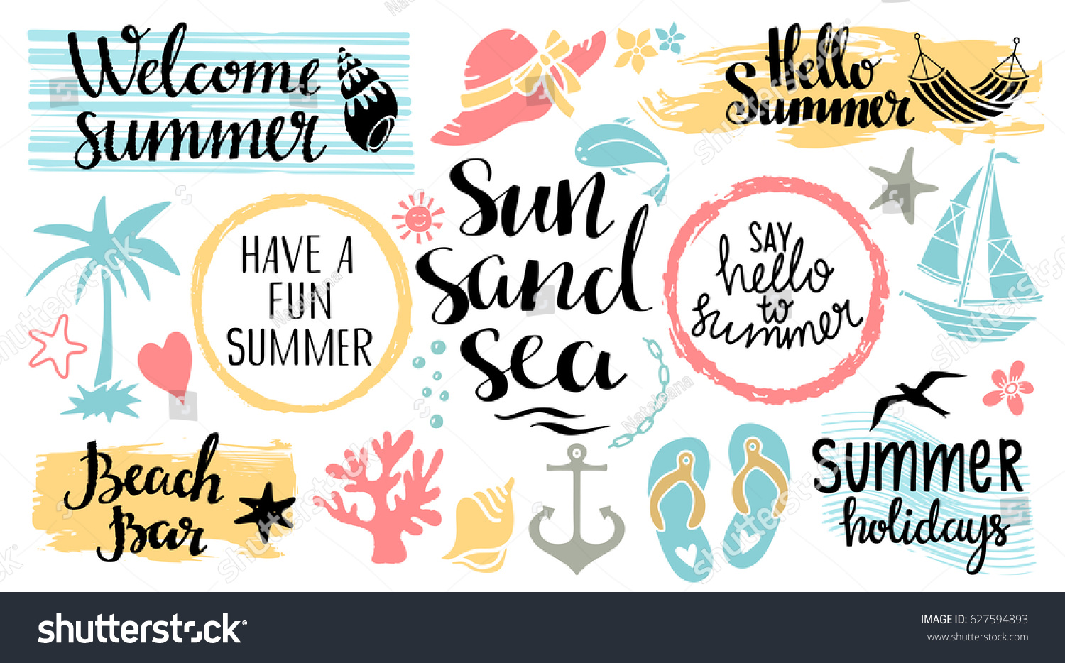 Summer Beach Logo Icons Signs Hand Drawn Isolated On White Background Handwritten