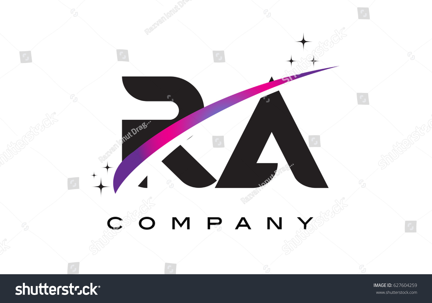 RA R Q Black Letter Logo Design With Purple Magenta Swoosh And Stars