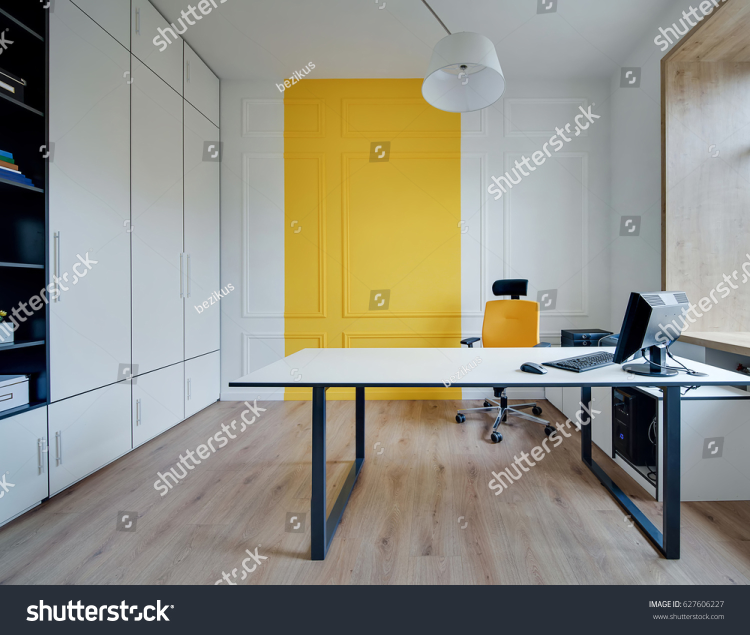 Room Modern Office Whiteyellow Walls Parquet Stock Photo & Image ...
