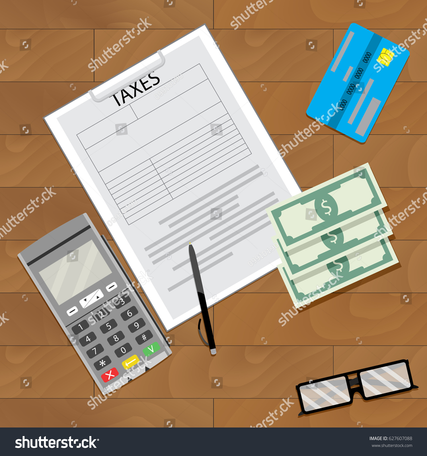 Finance Tax Credit Card Machine Accounting Stock Vector
