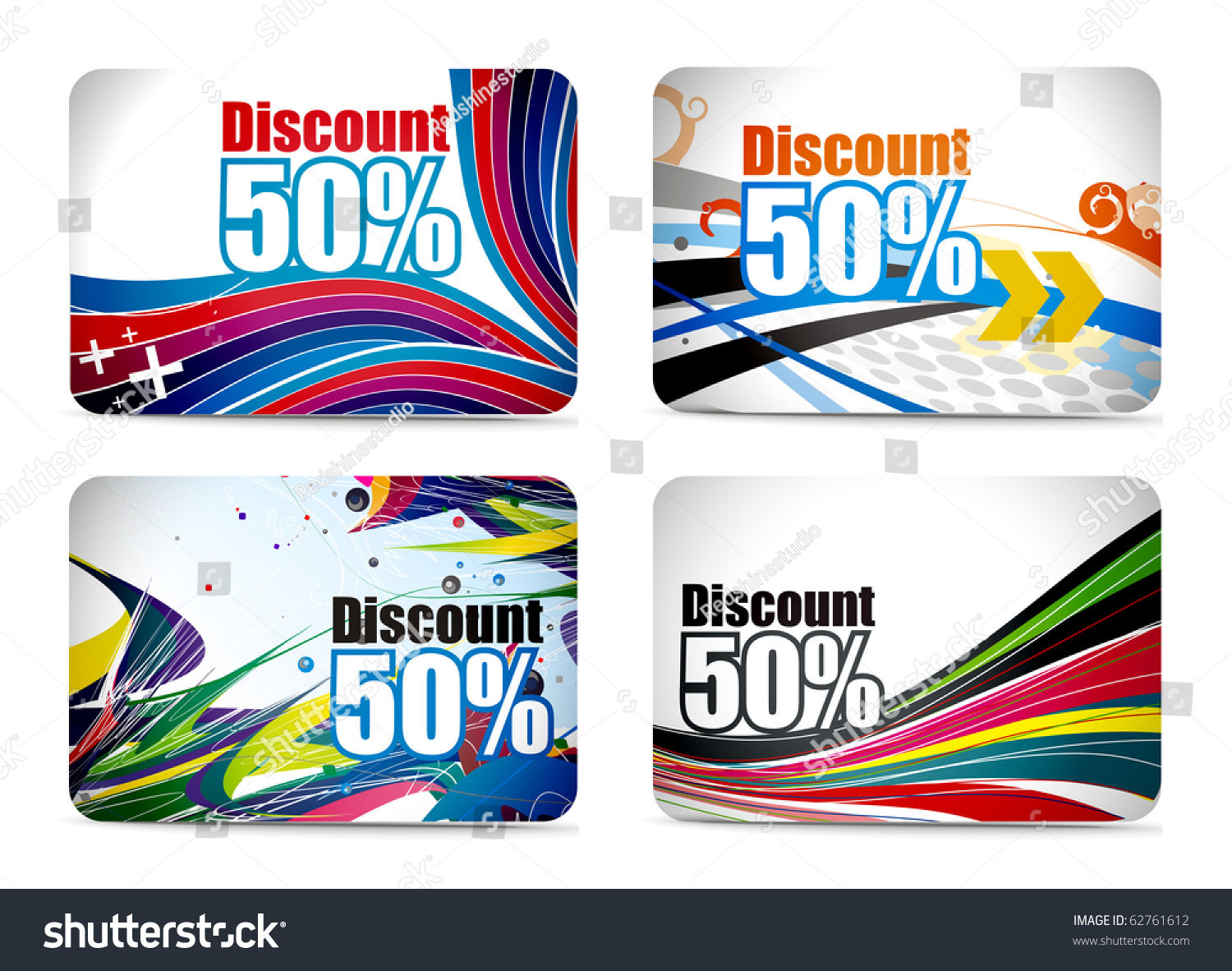 Design of discount card - Discount Card Set Design Vector Illustration Preview Save To A Lightbox