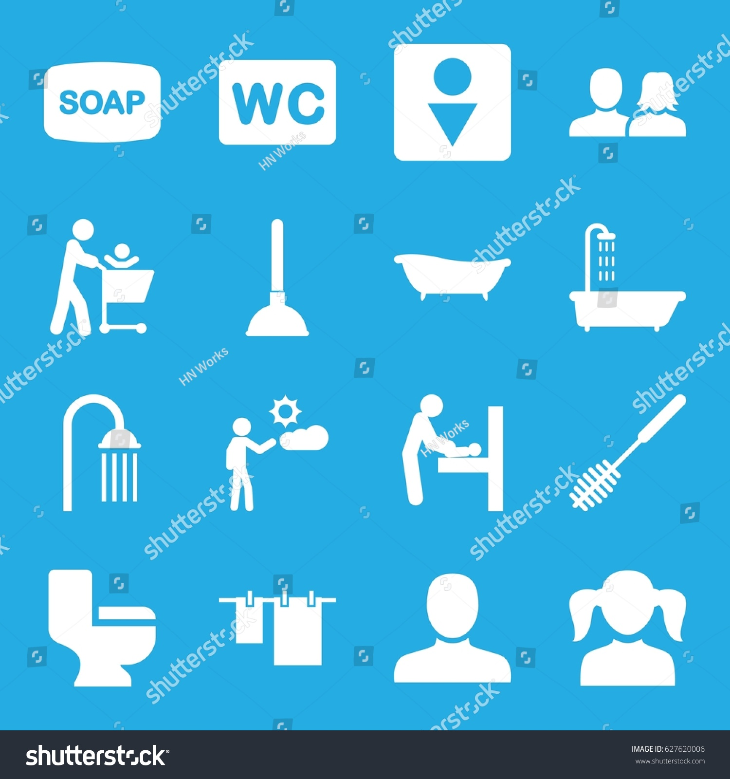Toilet Icons Set Set 16 Toilet Stock Vector 627620006 - Shutterstock