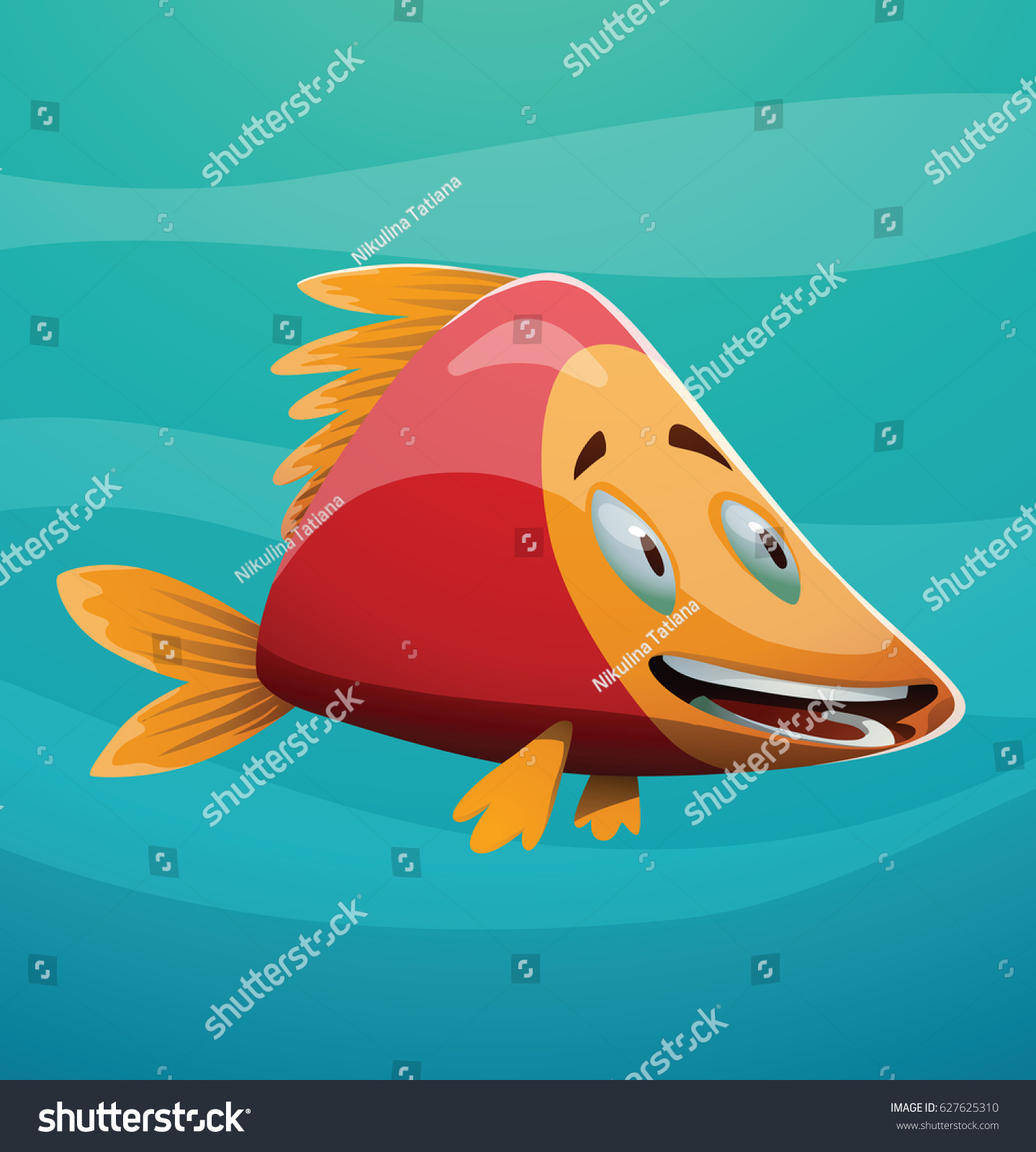 Vector Cartoon Image Cute Redyellow Fish Stock Vector (2018 ...